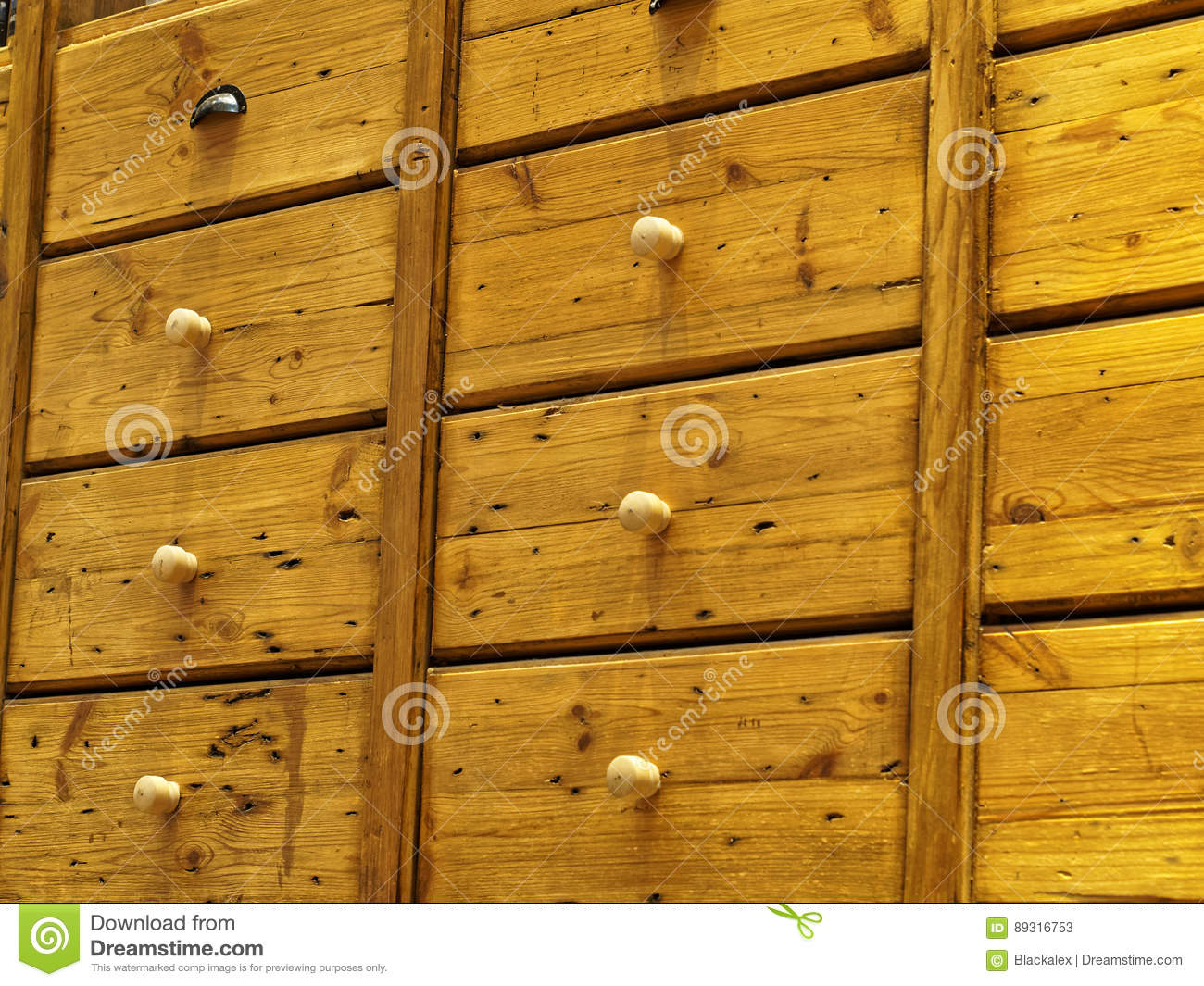 Ancient Wooden Cabinet ~ Wooden cabinet with drawers stock photo image