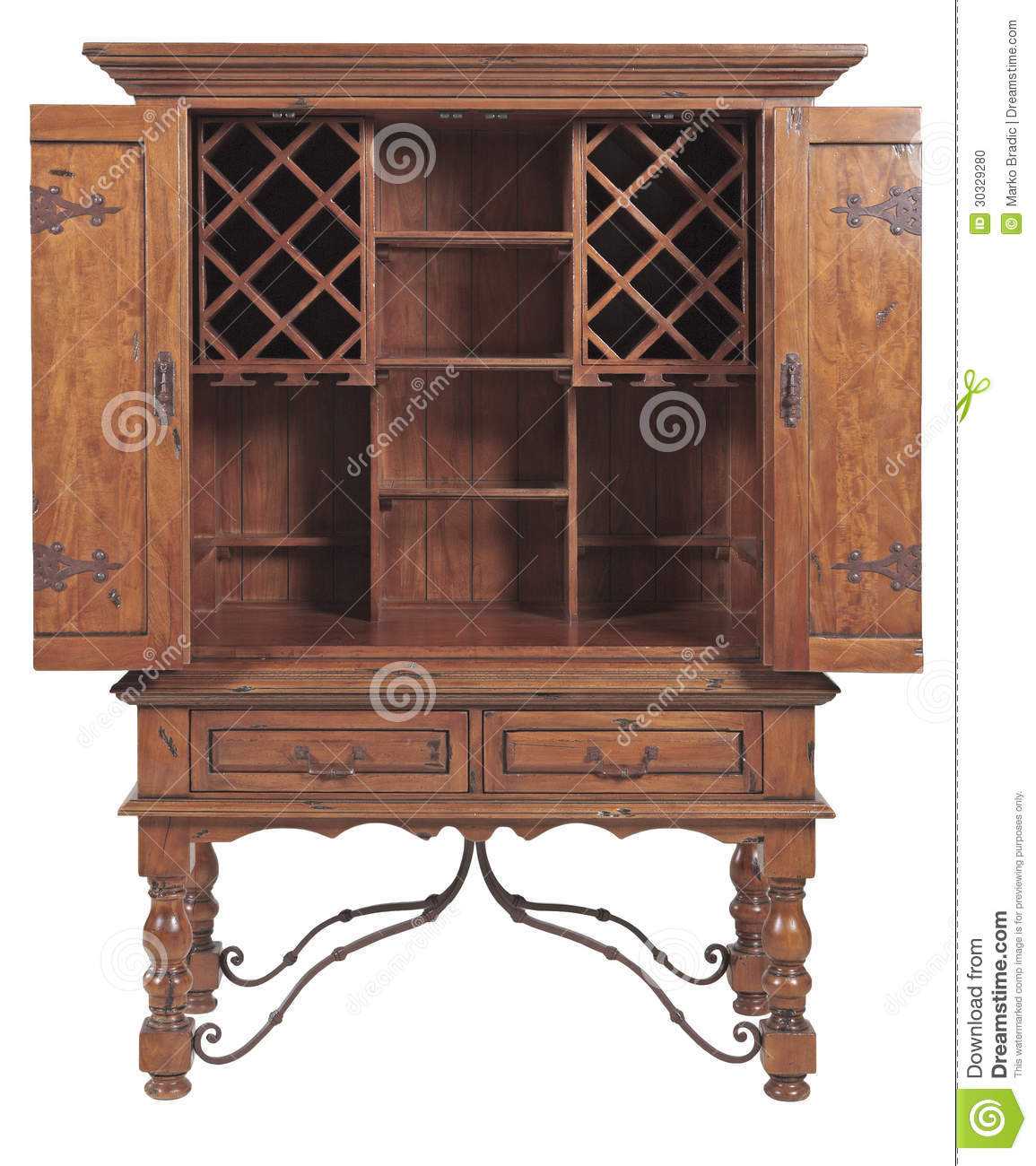 Ancient Wooden Cabinet ~ Old wooden cabinet and metal country star stock photo