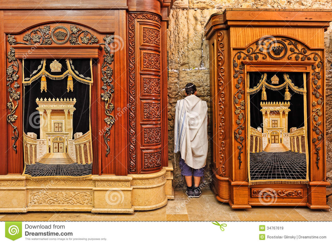 Wooden Cabinets With Torah At Western Wall. Royalty Free Stock