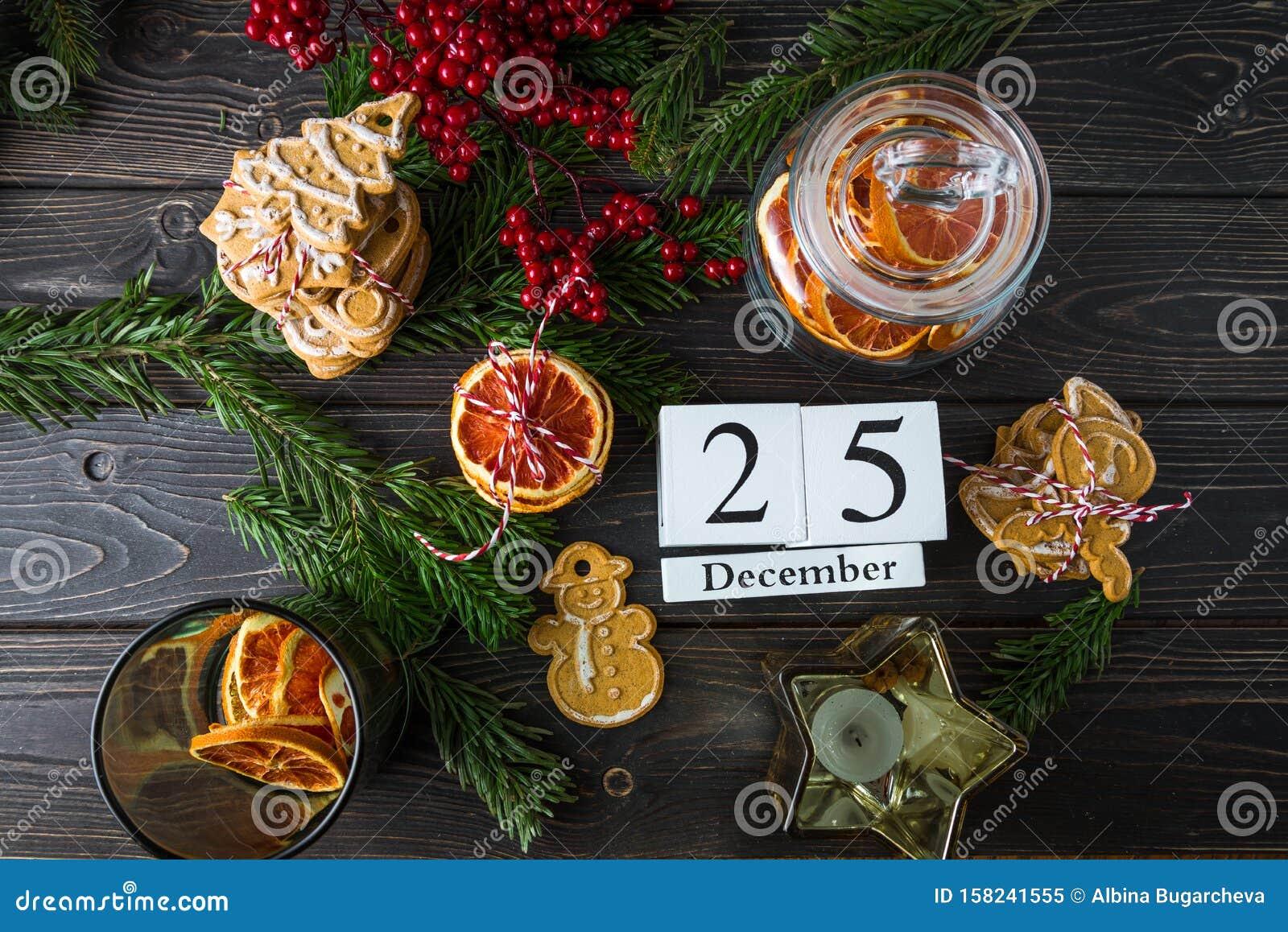 Wooden Calendar With Date 25 December Christmas Decor Orange