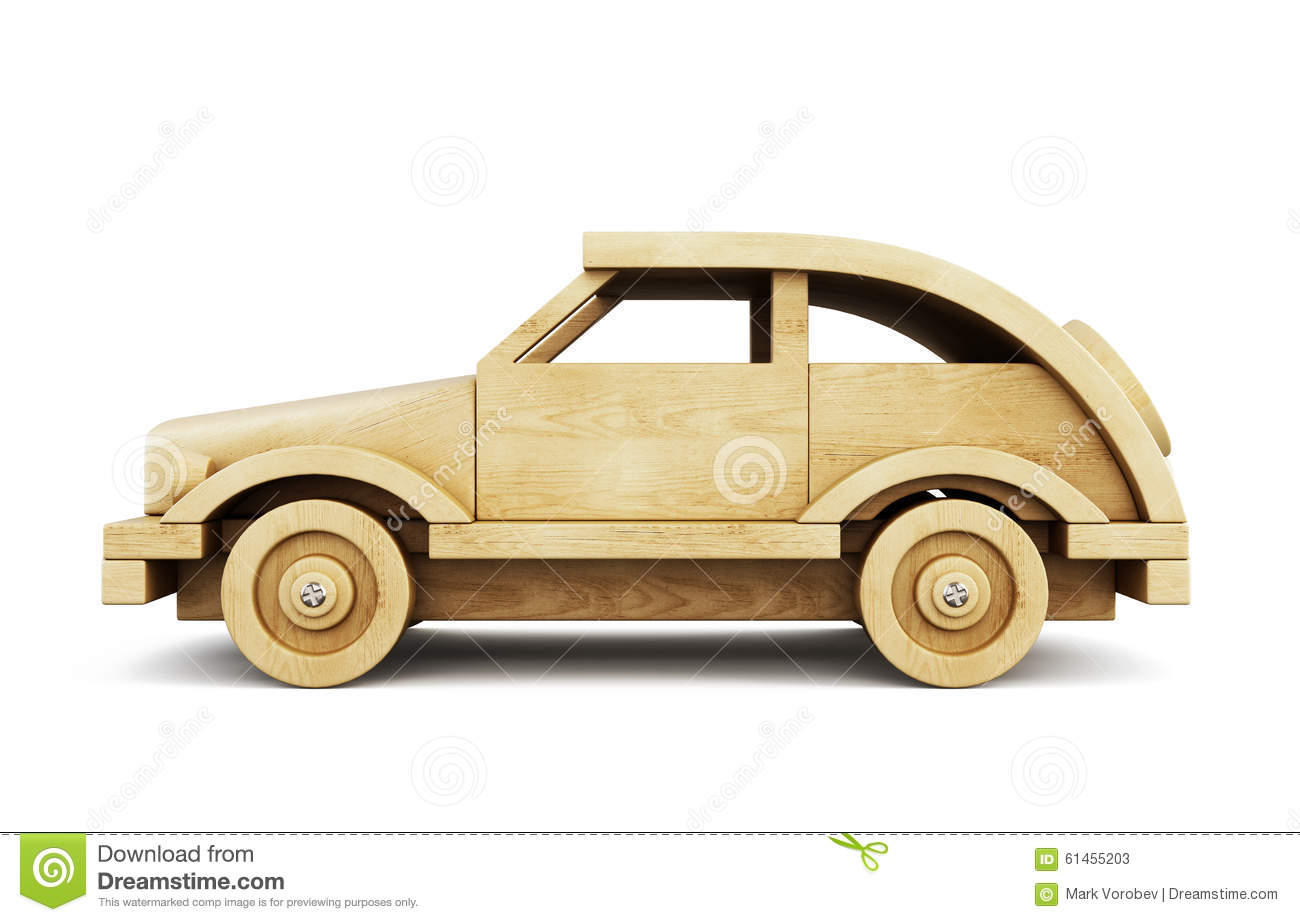 Wooden Car Side View. 3d. Stock Illustration - Image: 61455203