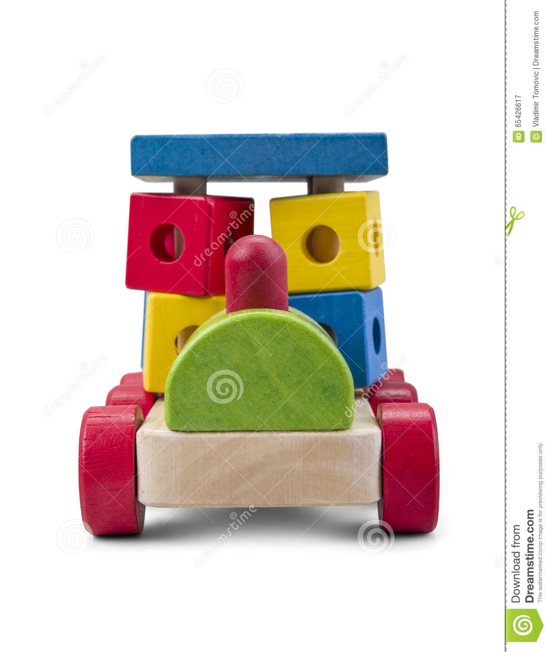 Wooden Car Truck Toy With Colorful Blocks Isolated Over White With