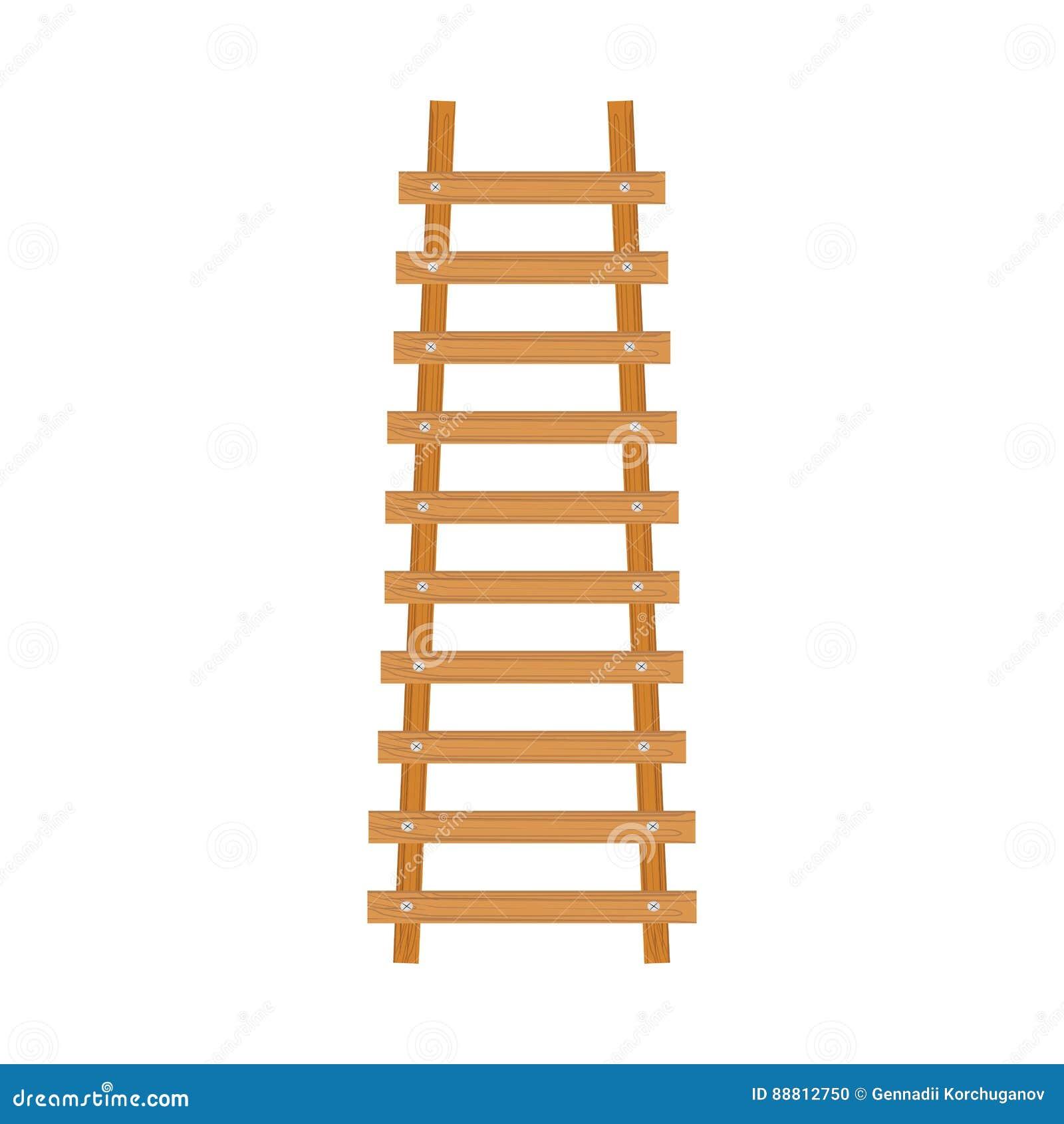 Wooden Cartoon Ladder Stock Vector Illustration Of