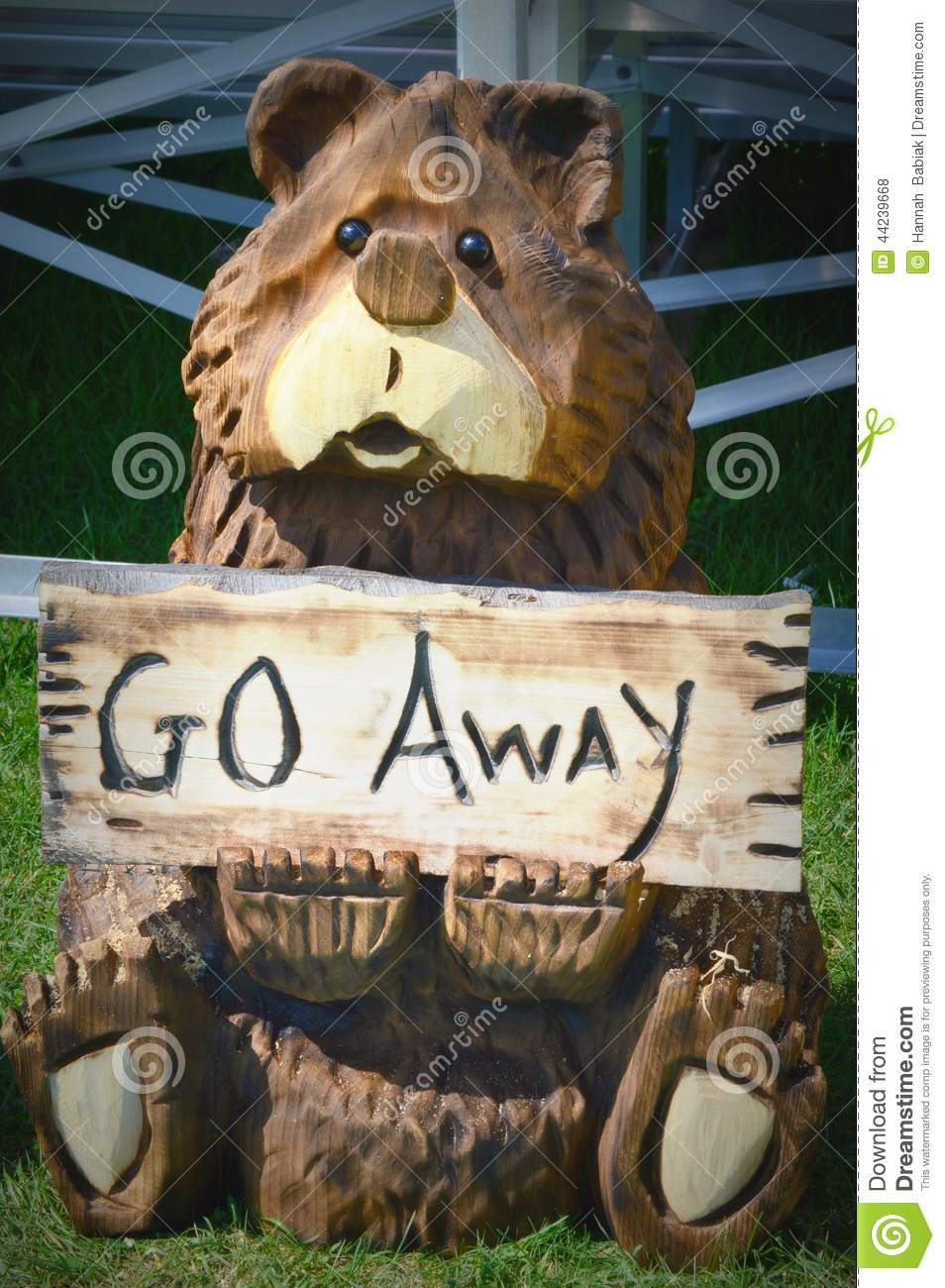 Go Away Wooden Carved Bear Chainsaw Art Stock Photo Image Of