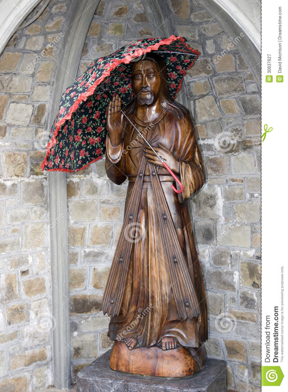 Wooden Carved Statue Of Jesus Holding An Umbrella Royalty