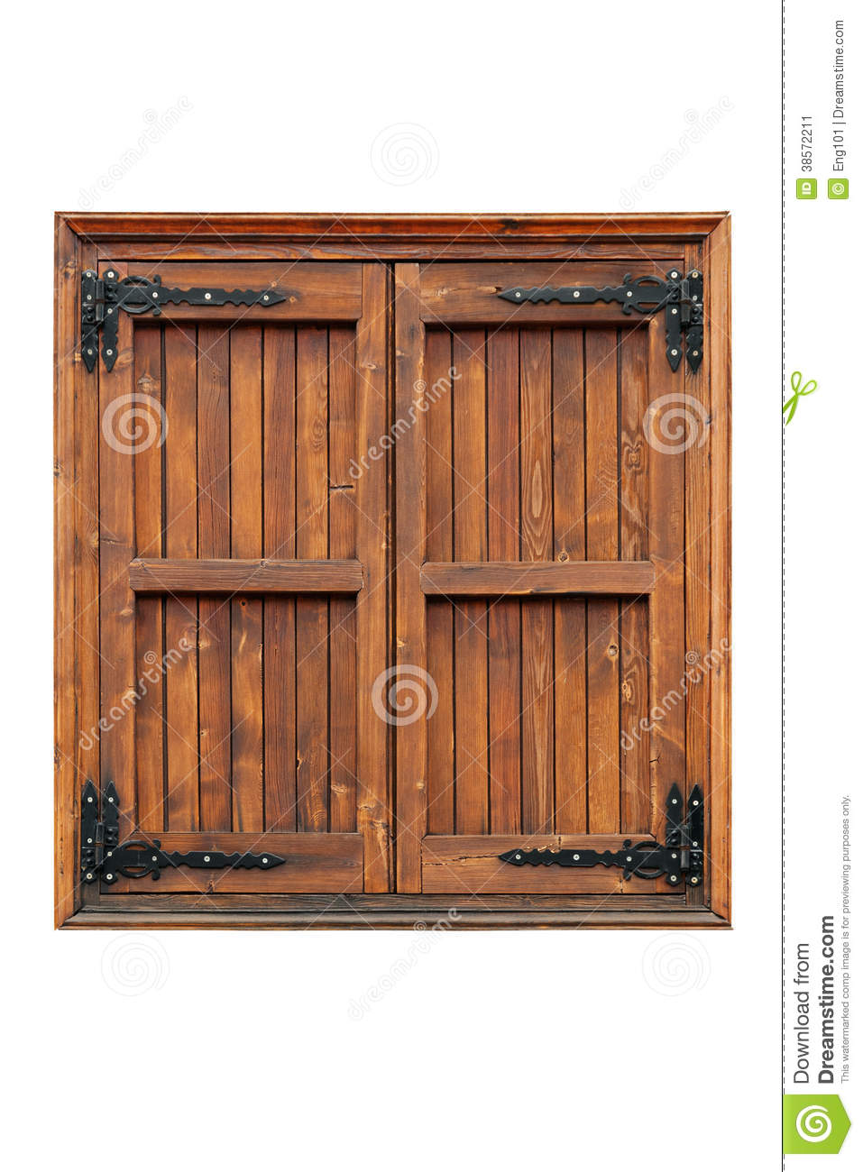 Wood Shutters Closed : Wooden casement window with shutters closed stock image