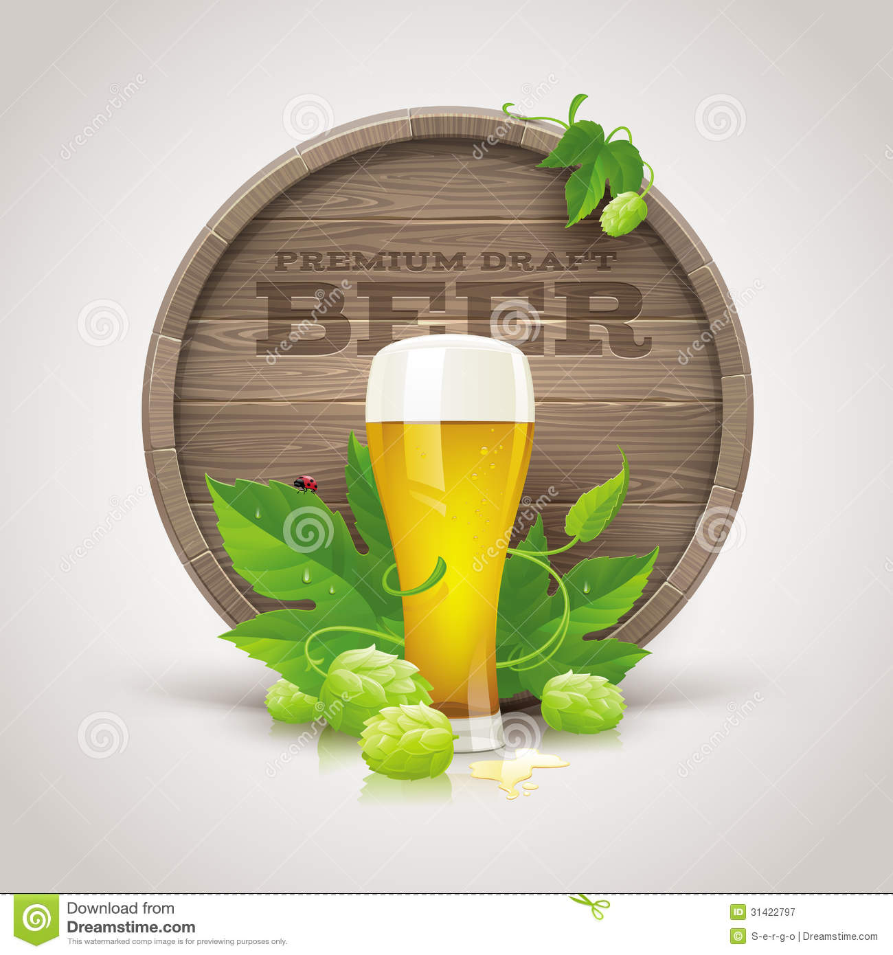Wooden cask, beer glass, ripe hops and leaves