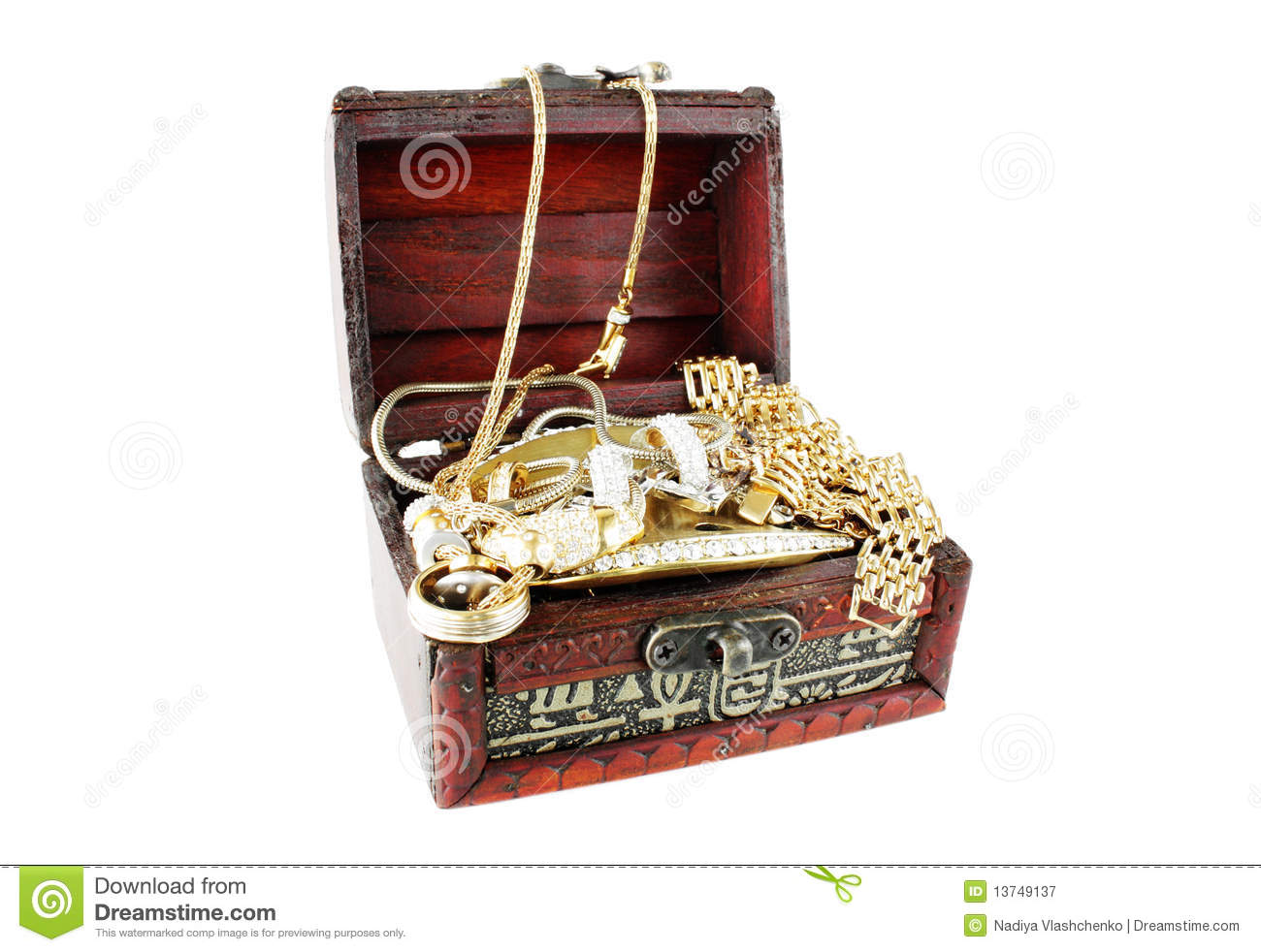 Wooden Casket With Accessories Stock Image - Image of lock