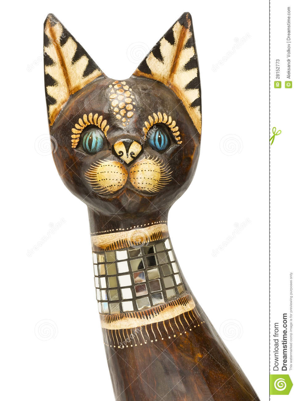 Wooden cat head isolated