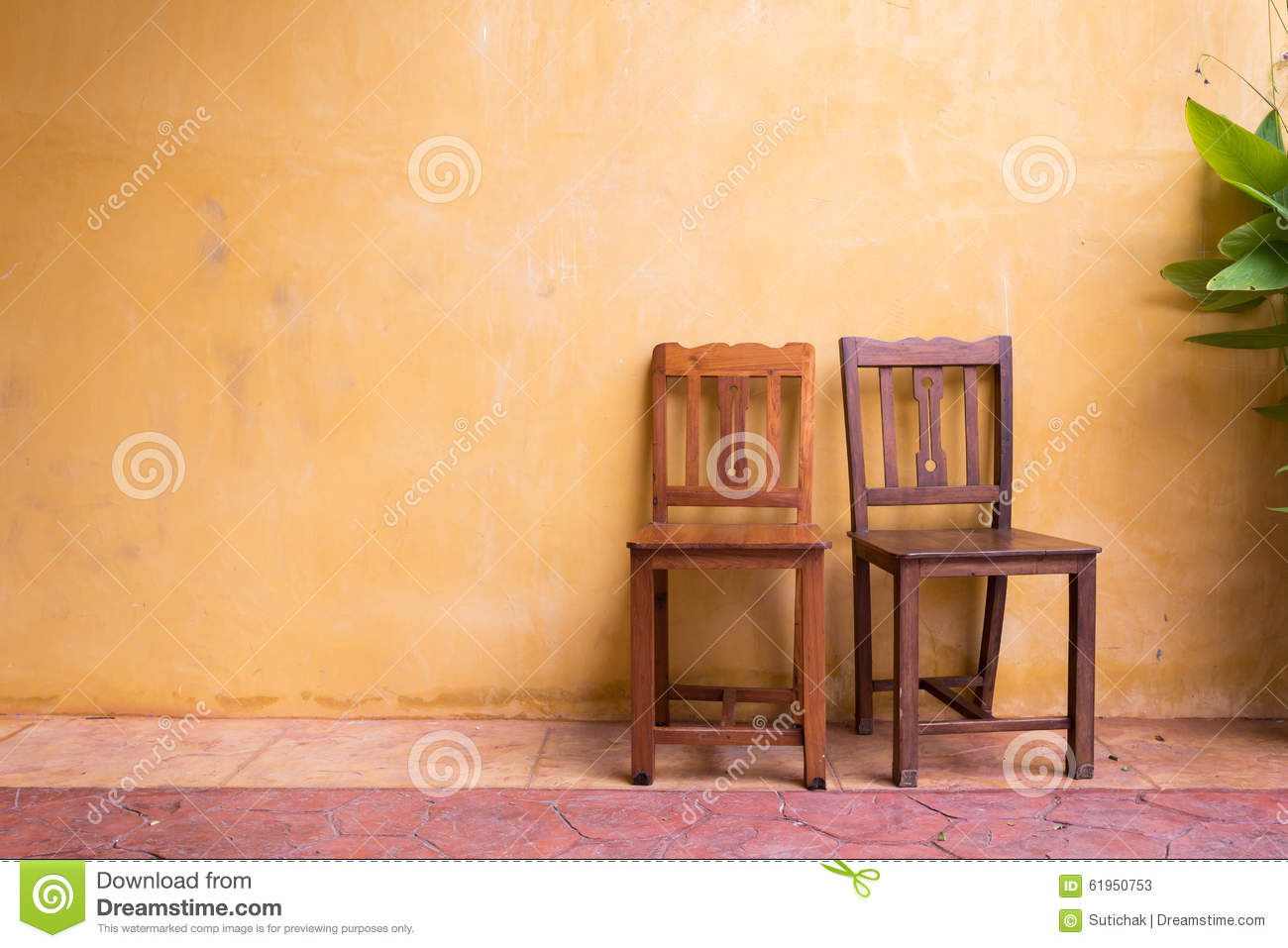 Wooden Chair And Cement Mortar Wall Background Stock Image - Image ...