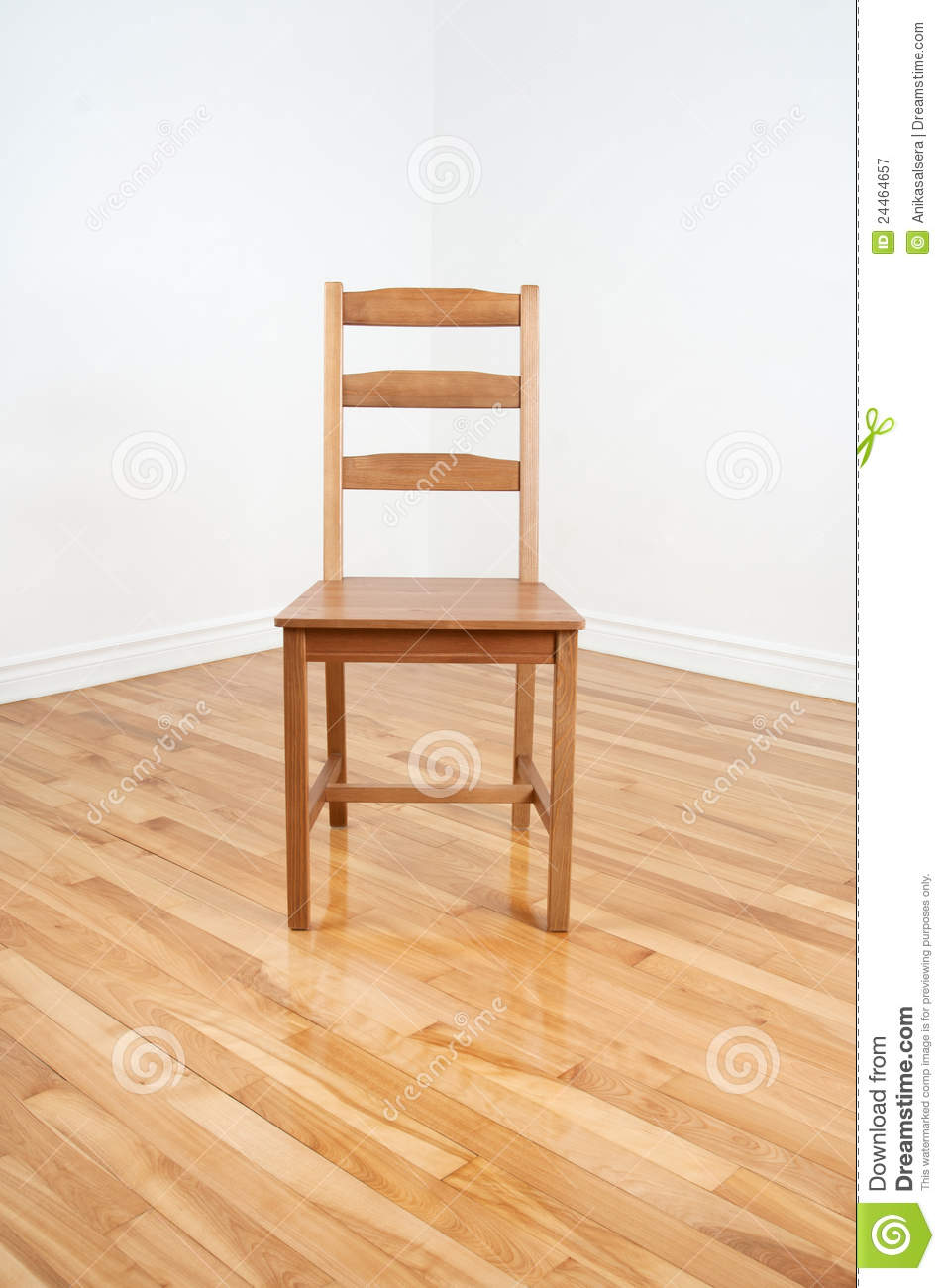 Wooden Chair In The Corner Of A Room Royalty Free Stock Photography ...