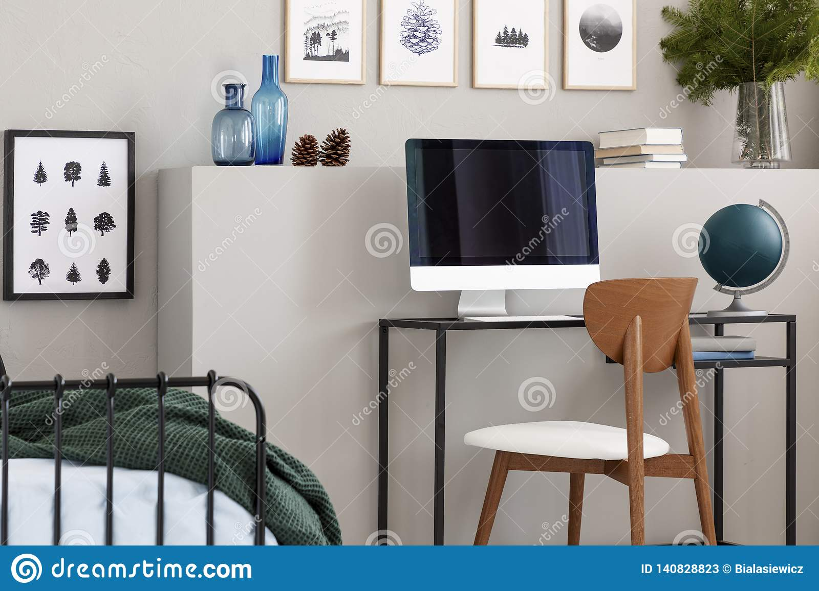 Wooden Chair With Industrial Desk With Computer And Green