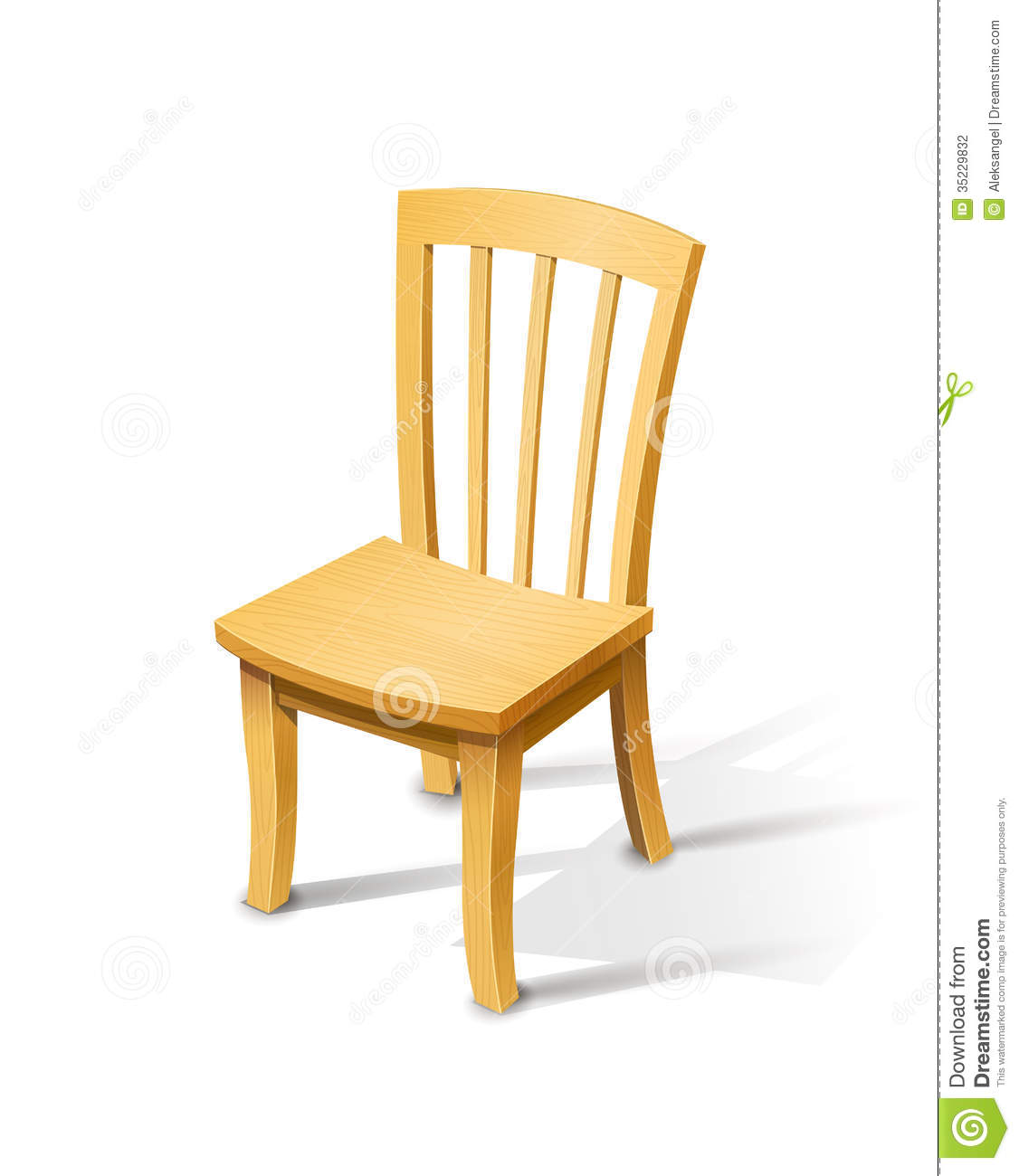 Wooden Chair. Vector Illustration On White Background EPS10 . Full resolution‎  portraiture, nominally Width 1126 Height 1300 pixels, portraiture with #BD830E.