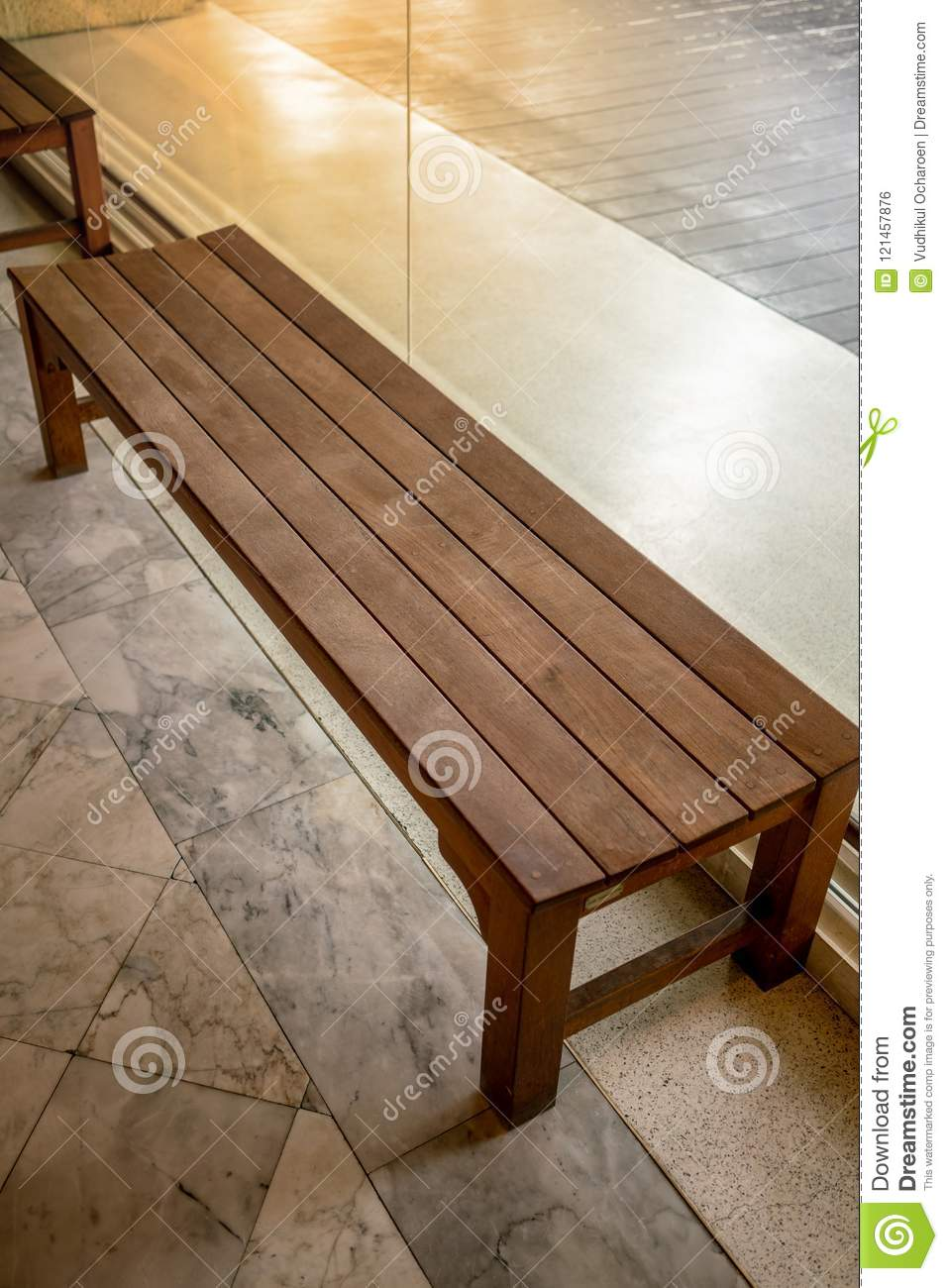 Wooden Chair Or Wood Bench Inside A Building Along A Walkway Stock Photo Image Of Decoration Modern 121457876