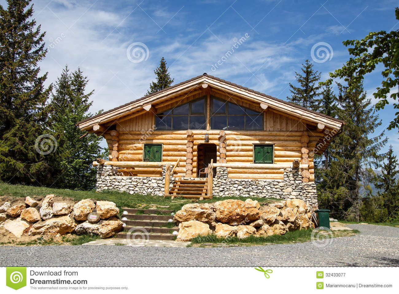 Wooden Chalet Stock Image Image Of Green House Frame