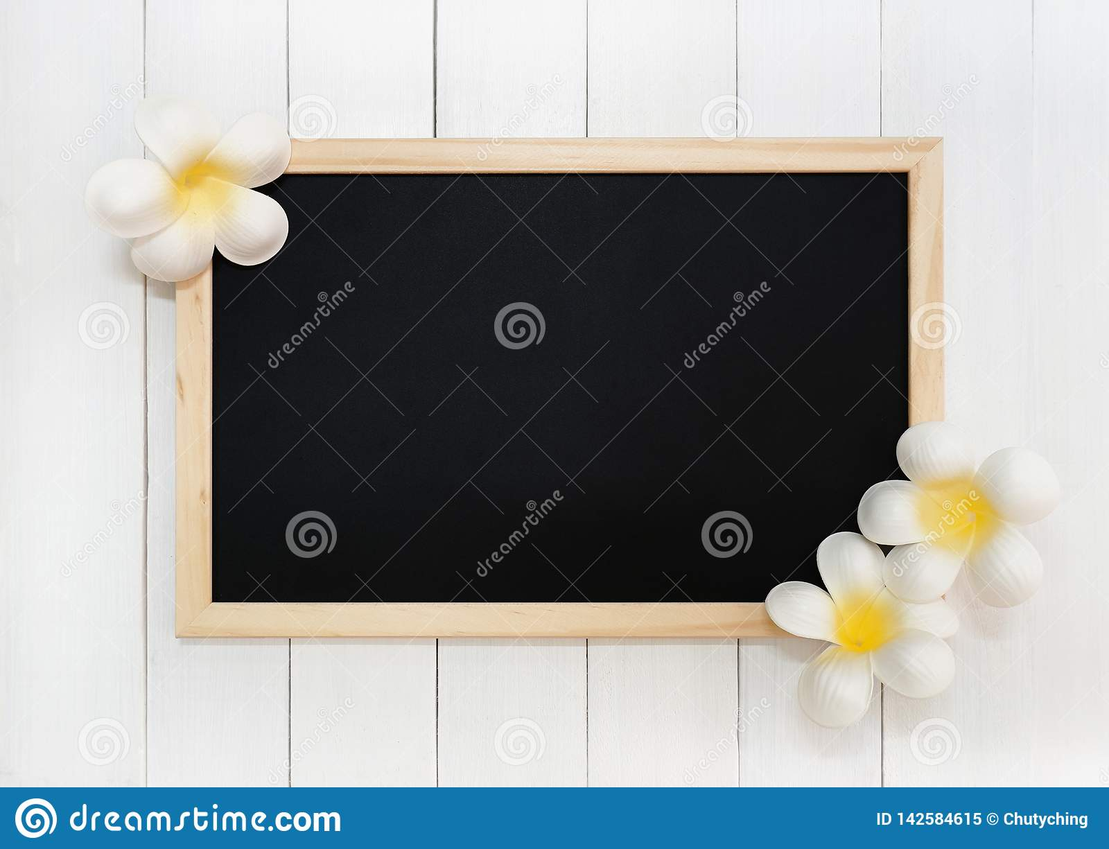 Wooden Chalkboard with Artificial White Plumeria Flowers