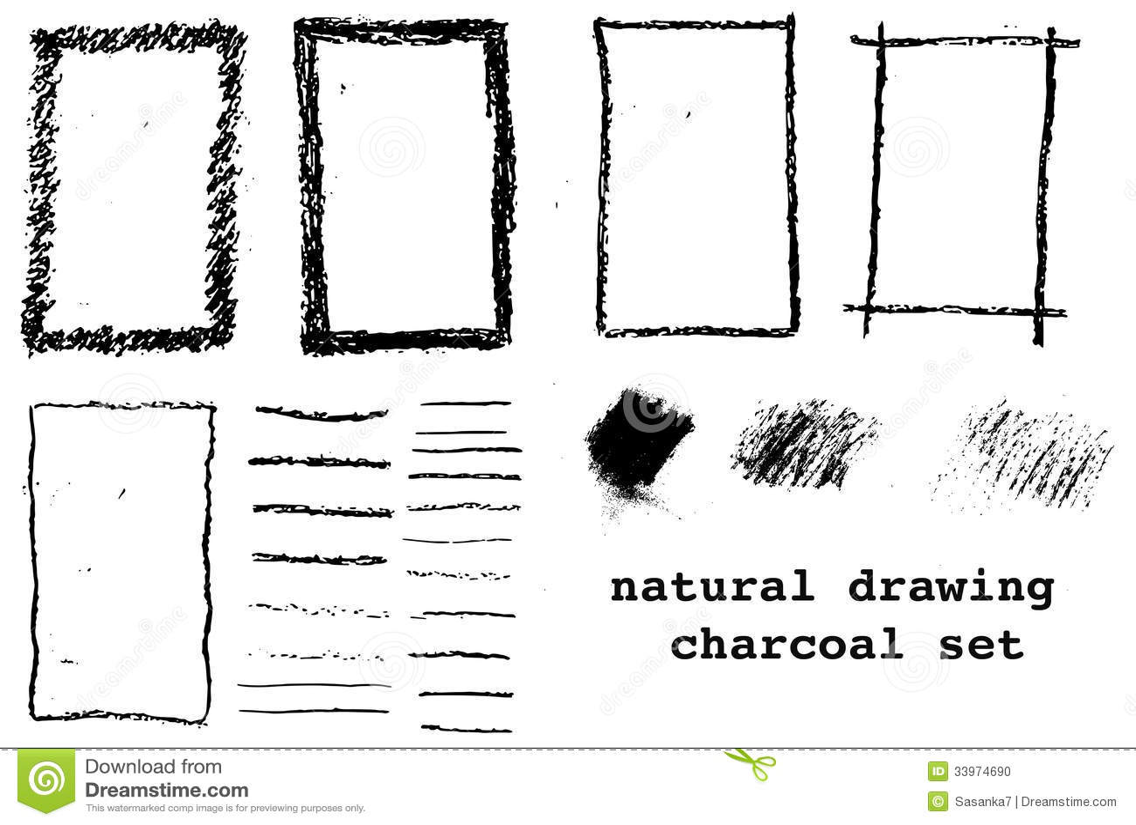 Wooden Charcoal Draw Frames Stock Illustration - Illustration of ...
