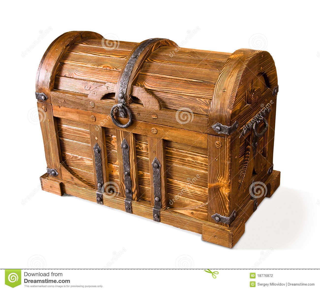 Wooden Chest On White Background With Clipping Path.. Full resolution  portraiture, nominally Width 1300 Height 1182 pixels, portraiture with #6F4018.