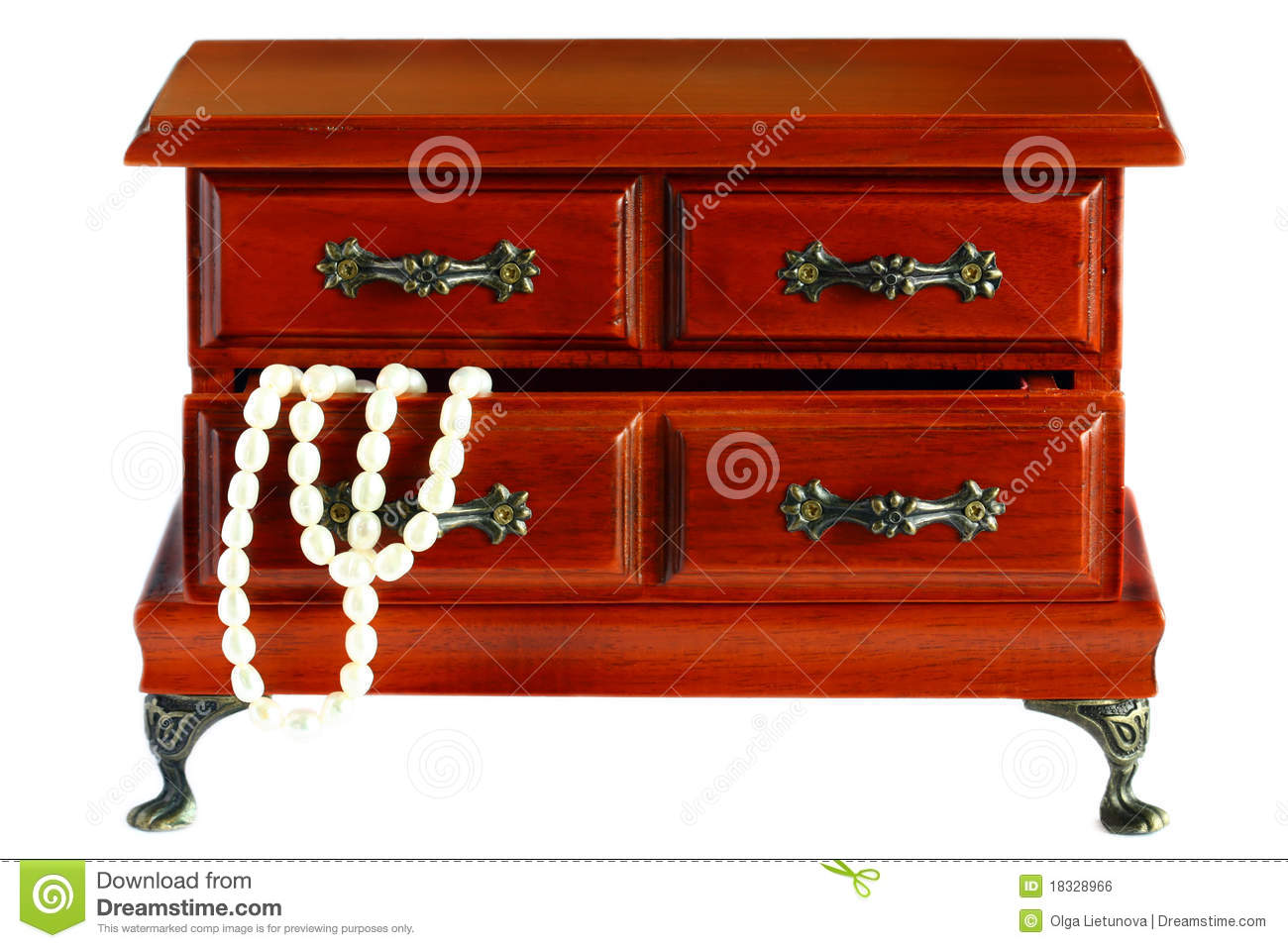 wooden chest of drawers fpr jewelry stock photo image 18328966. Black Bedroom Furniture Sets. Home Design Ideas