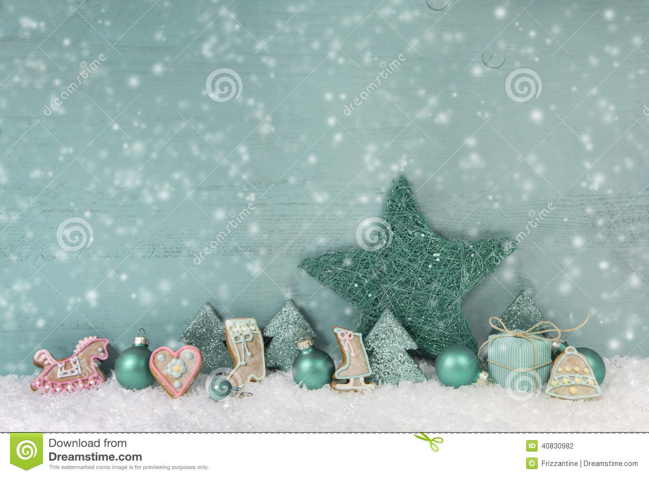 wooden christmas background mint green with snow