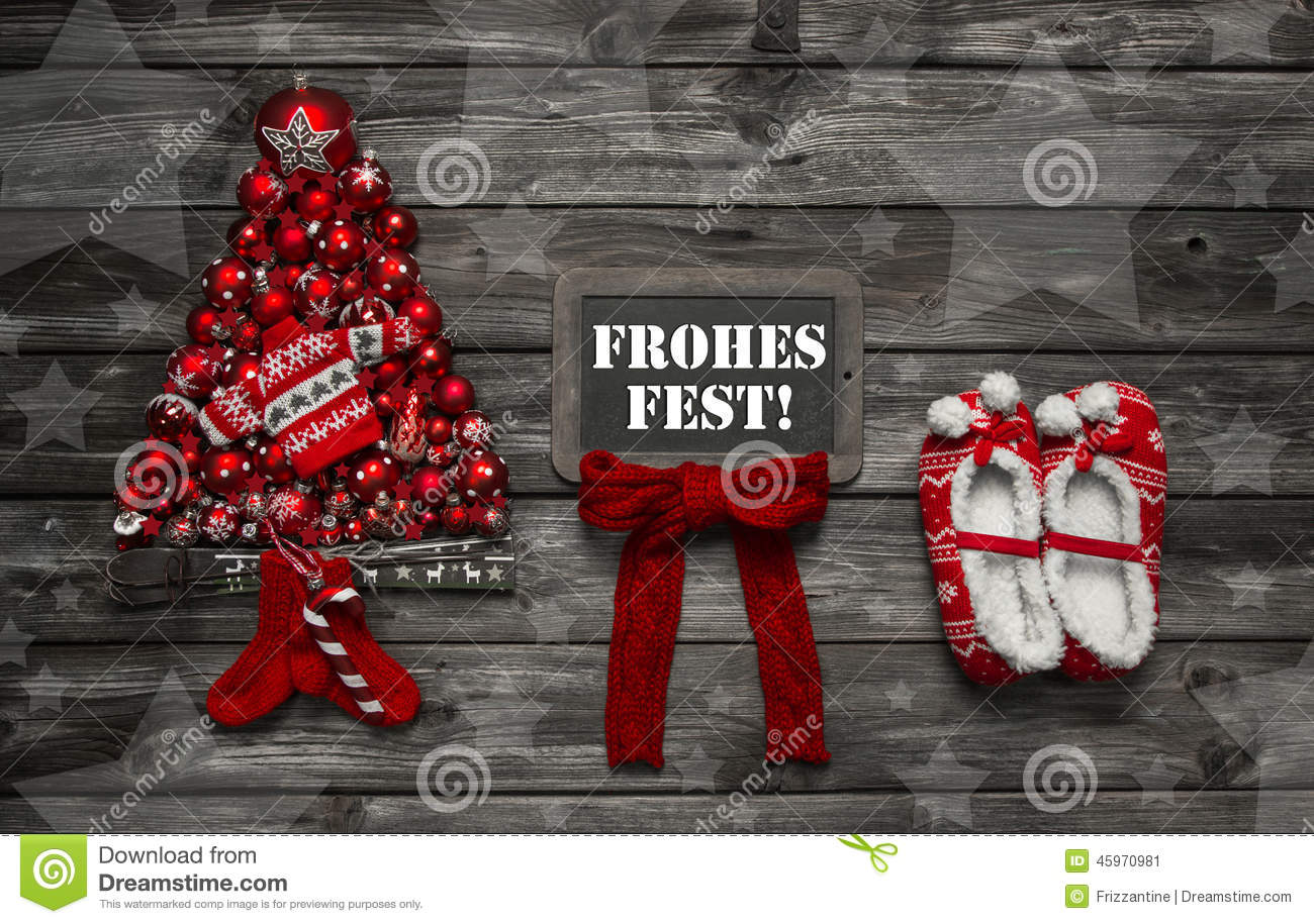 Wooden Christmas Background With Red Decoration And An Empty Sig
