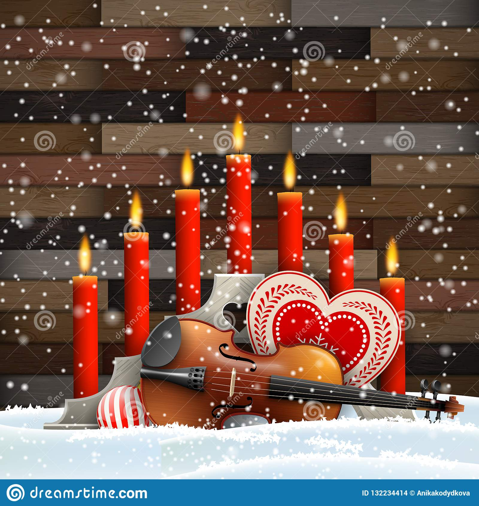 Christmas candles with heart, candles and violin