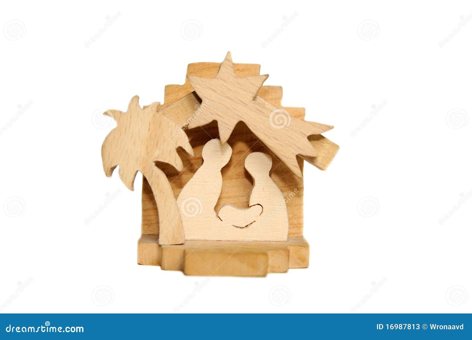 Wooden Christmas crib of Holy Family - Nativity scene isolated on ...