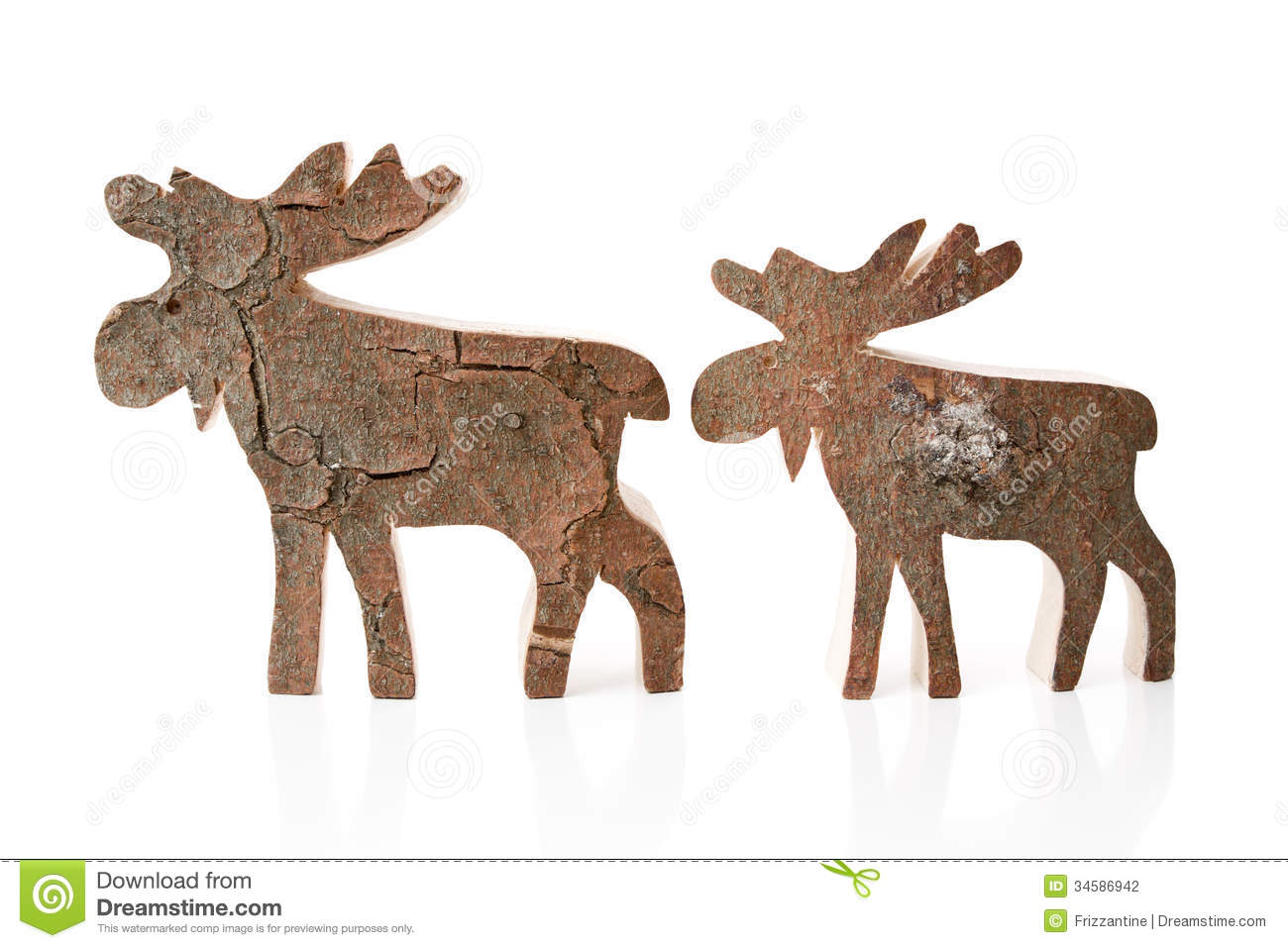 wooden christmas decoration isolated reindeer or elk handmade stock photography - Christmas Reindeer Decorations