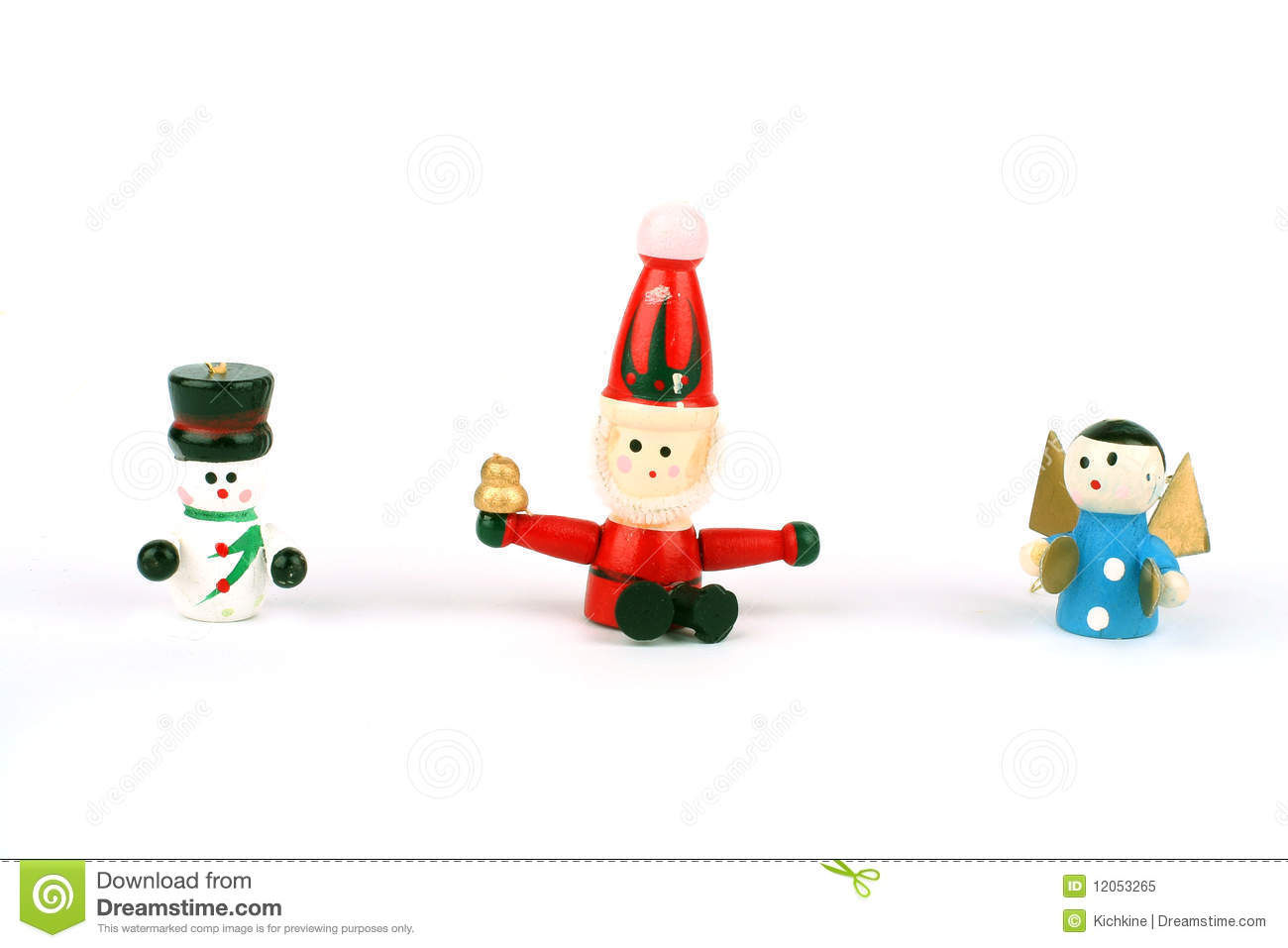 Wooden christmas toys stock image of snowman white