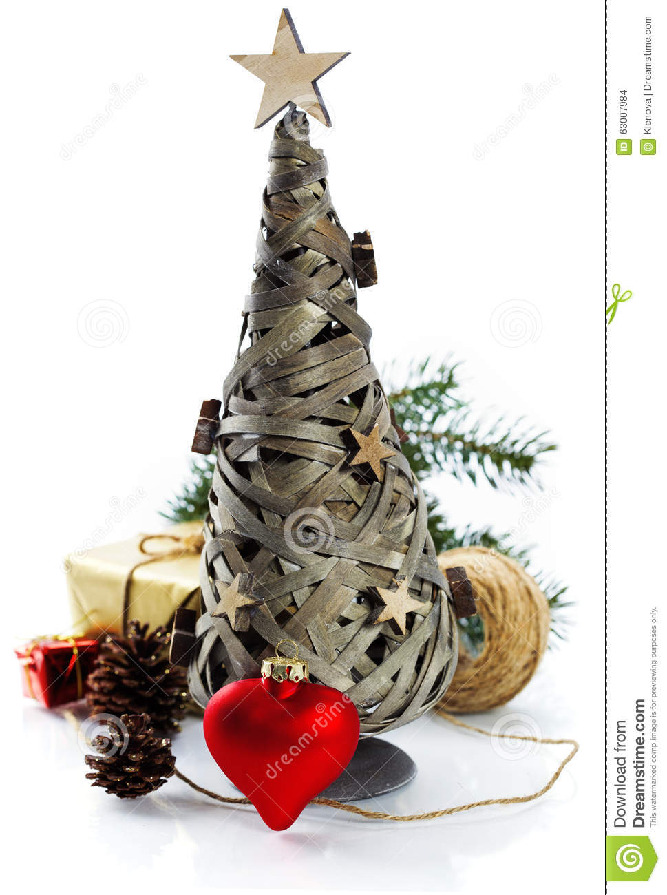 Wooden christmas tree and decorations stock photo image Over the top christmas tree decorations