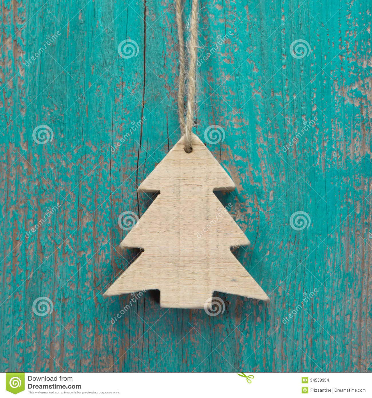 Wooden Christmas Tree On A Old Shabby Board For A Greeting ...