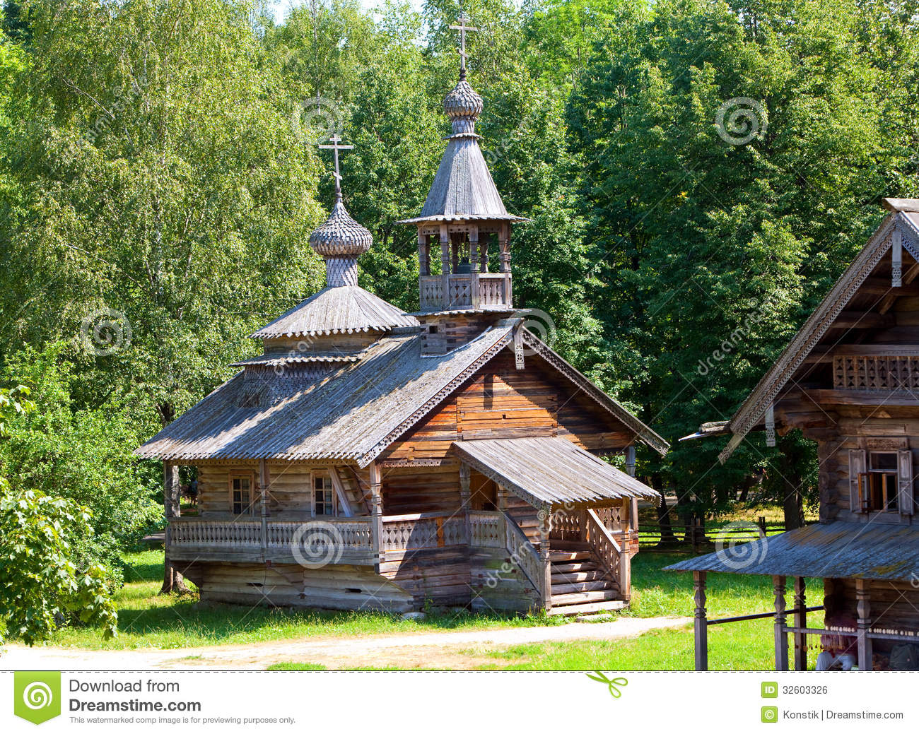 Wooden Church Against The Wood Open Air Museum Of Ancient