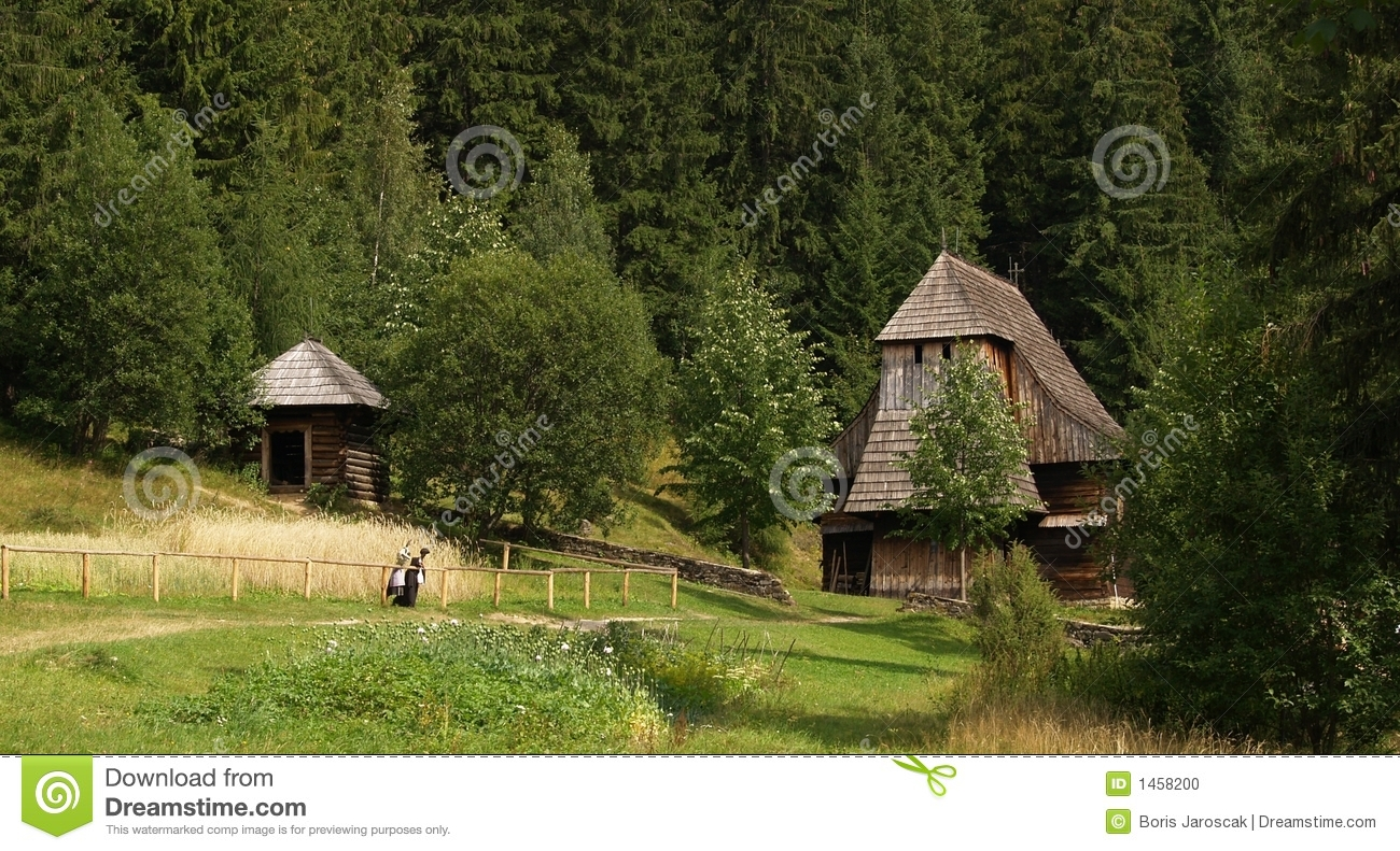 Wooden church in countryside