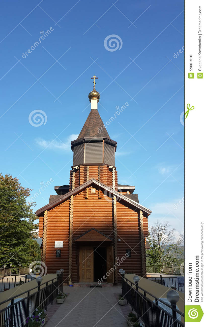 The wooden church of Tsar Nicholas II in Russian village