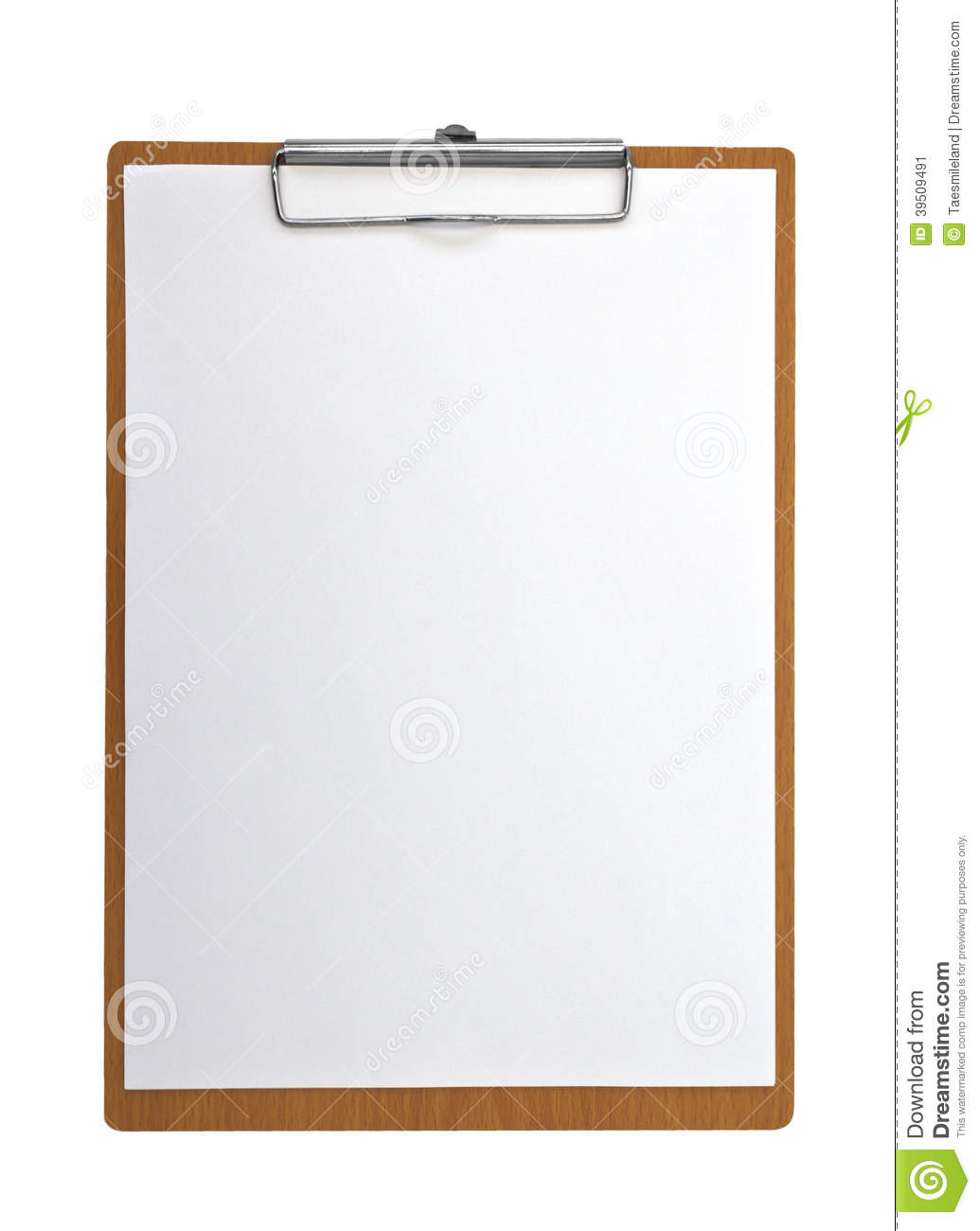 Wooden Clip board and paper
