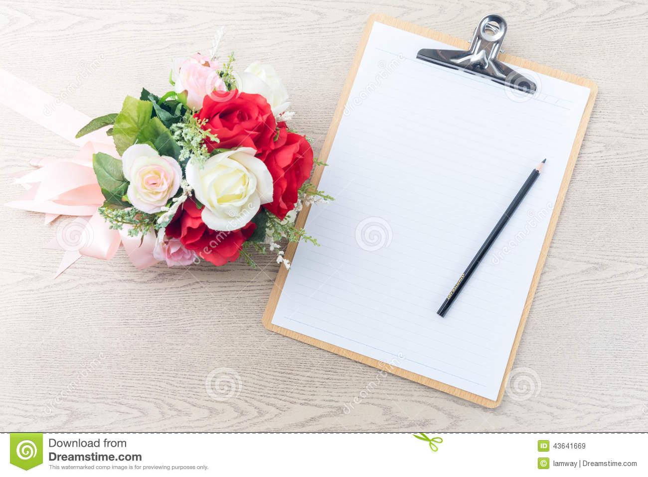 Wooden Clipboard Attach Planning Paper With Pencil Beside