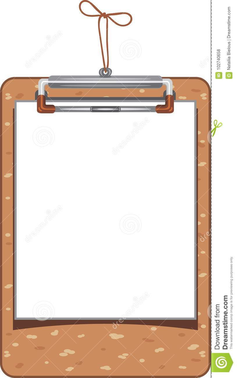 wooden clipboard with paper sheet stock vector illustration of