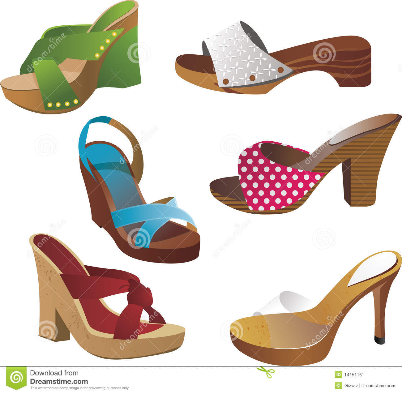 Wooden Clogs Stock Vector Illustration Of Female Wooden 14151161