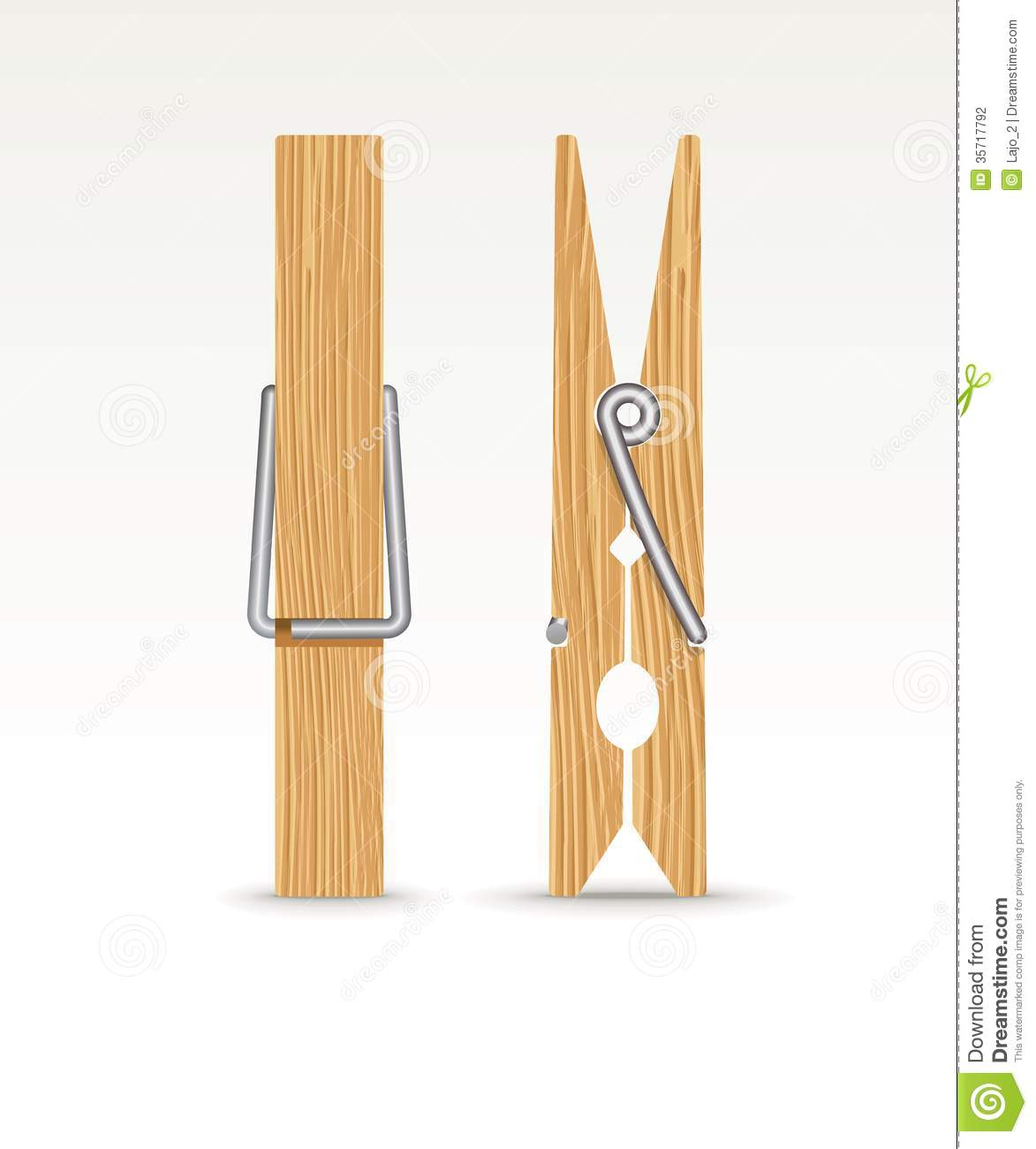 Wooden Cloth Clips Stock Photography - Image: 35717792