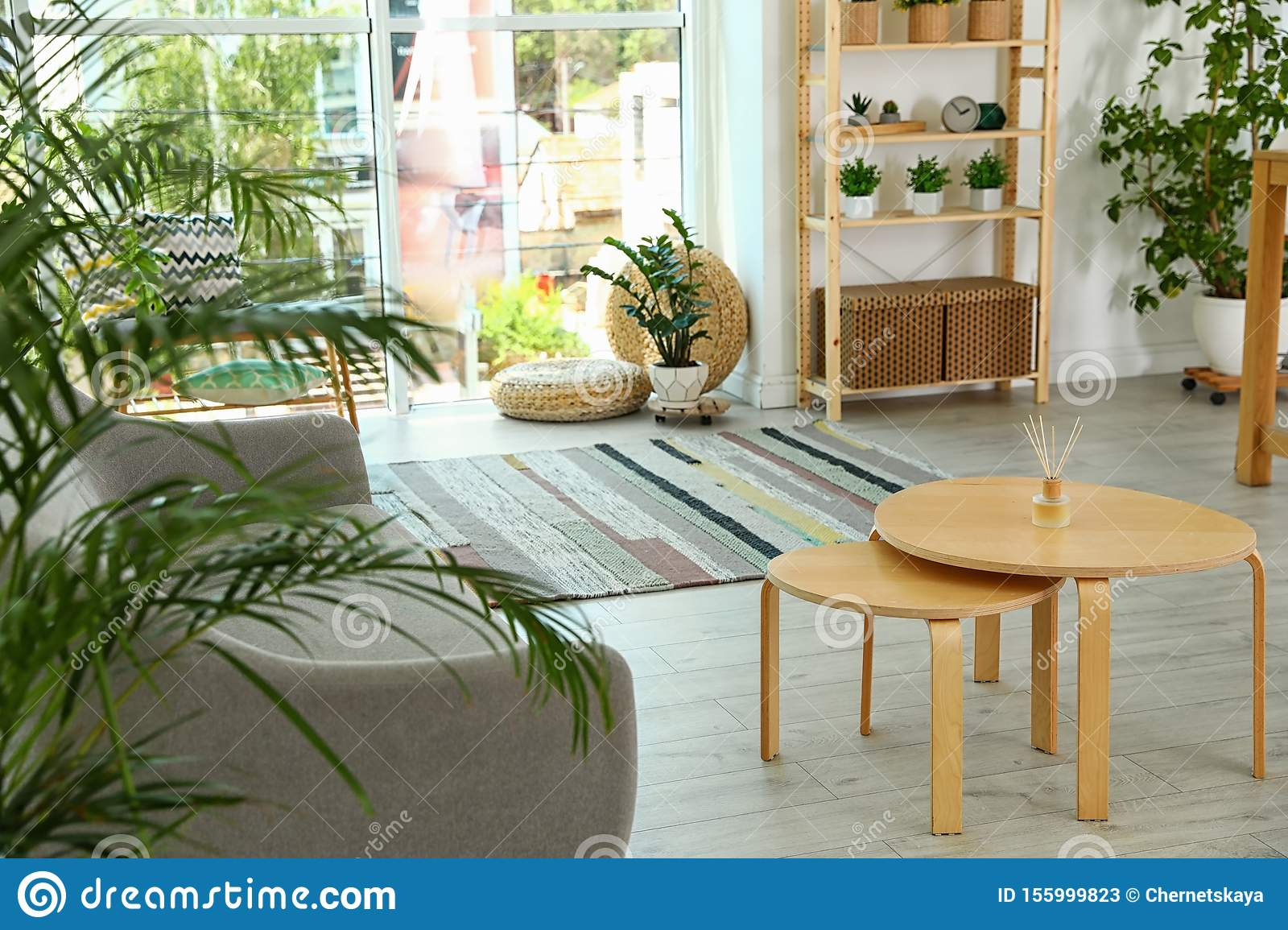 Wooden Coffee Table In Modern Living Room Stock Image Image Of Light Couch 155999823