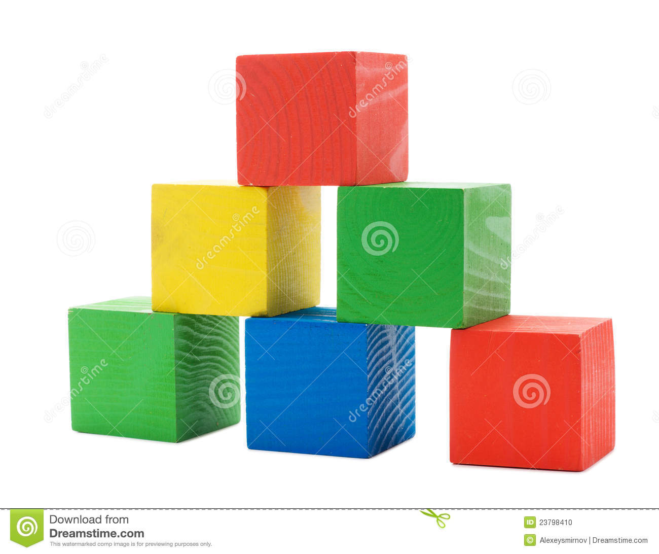 Wooden Colored Building Pyramid Of Cubes Stock Photo