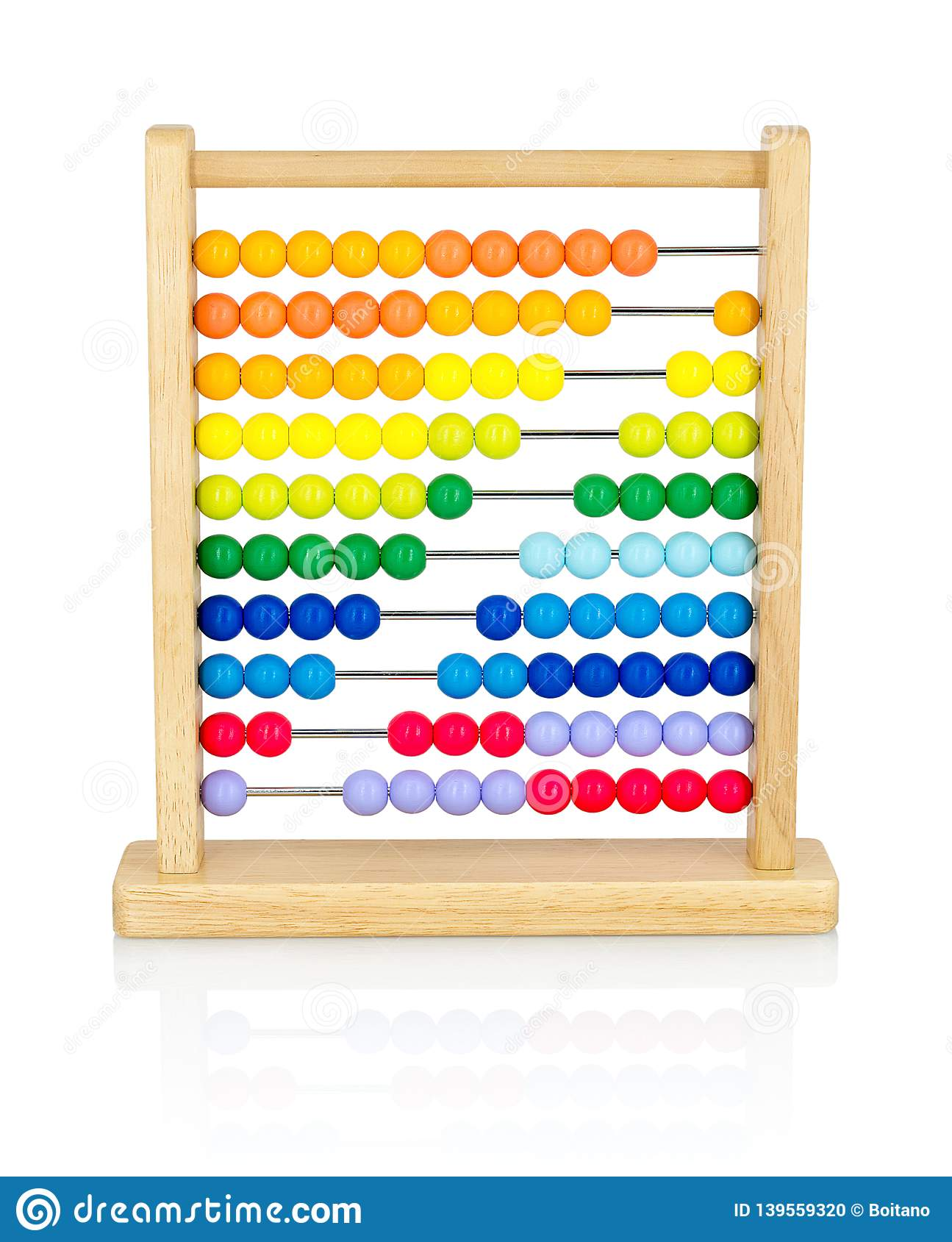 Wooden colorful abacus for kids isolated on white background with shadow reflection.