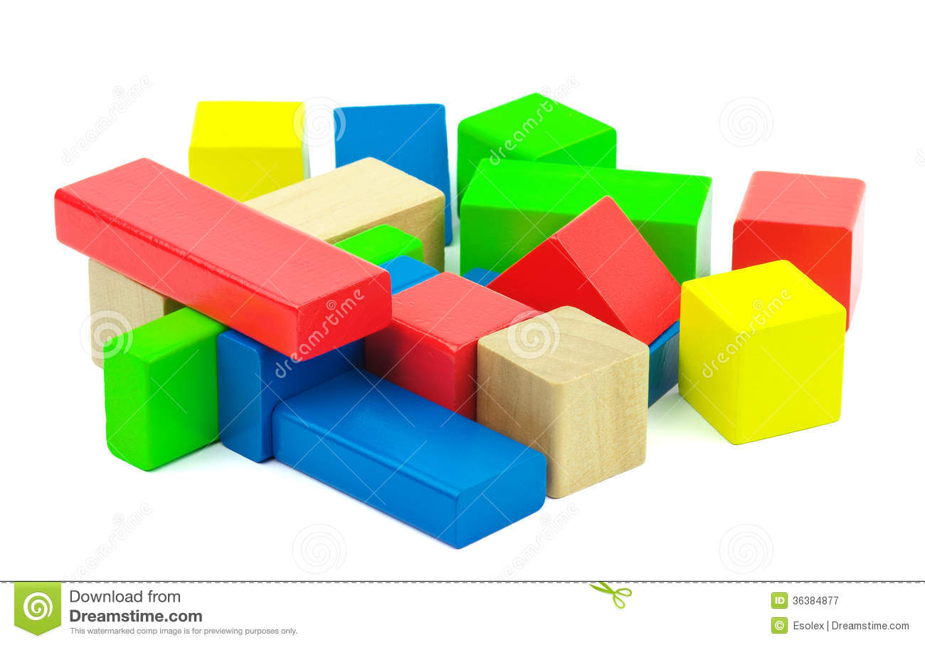 Wooden colorful bricks isolated on white background. Wooden toy ...