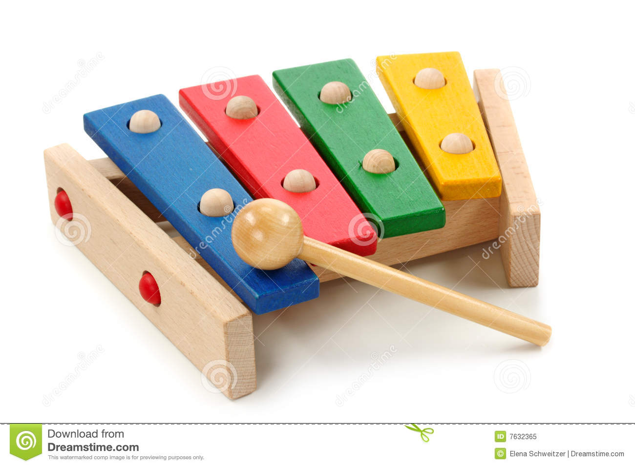 Wooden colorful xylophone stock image of isolated