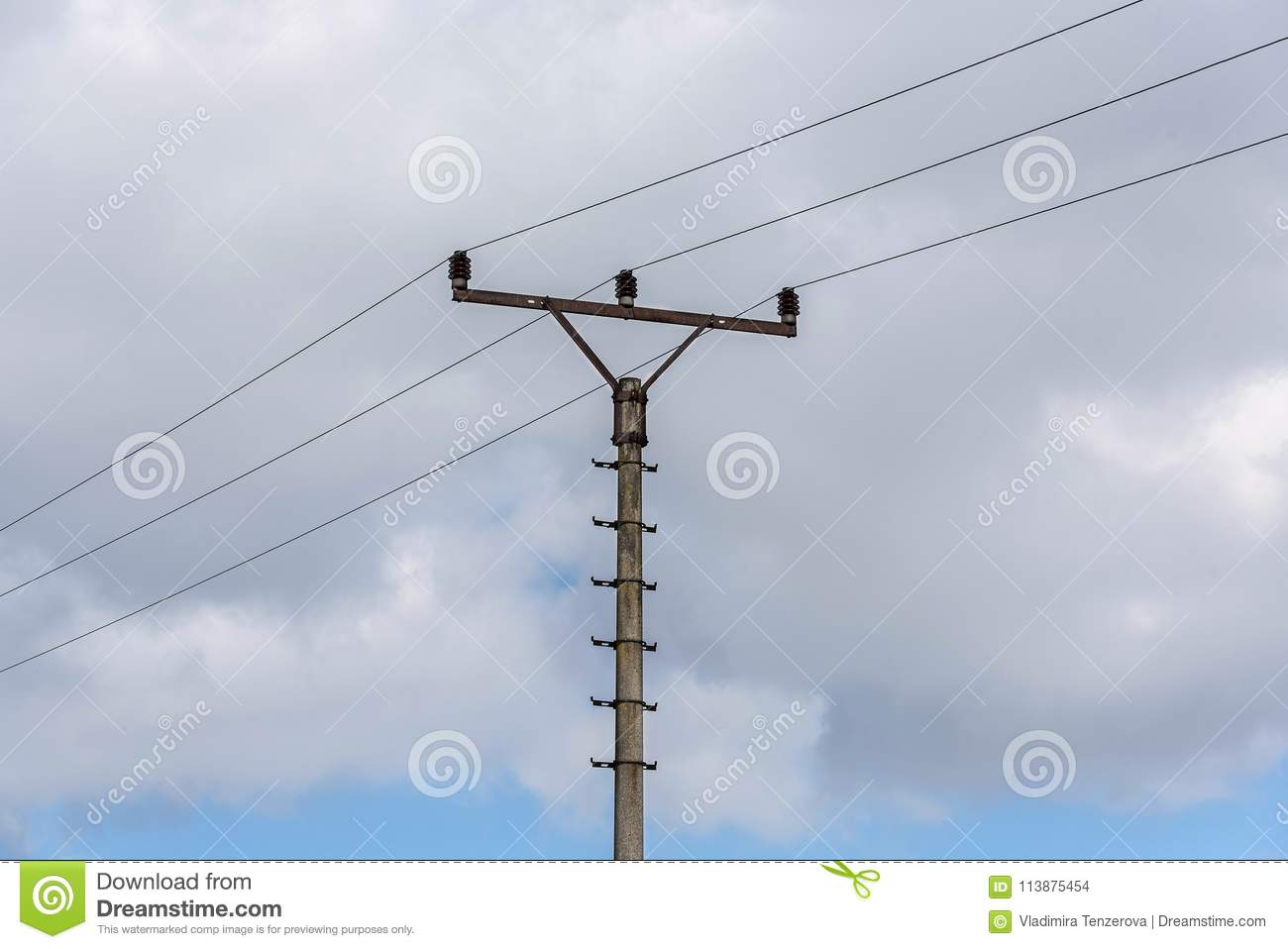 Landscape Electrical Wiring Diagrams Sky Box Wooden Column Of Electric With Wires Against The Download