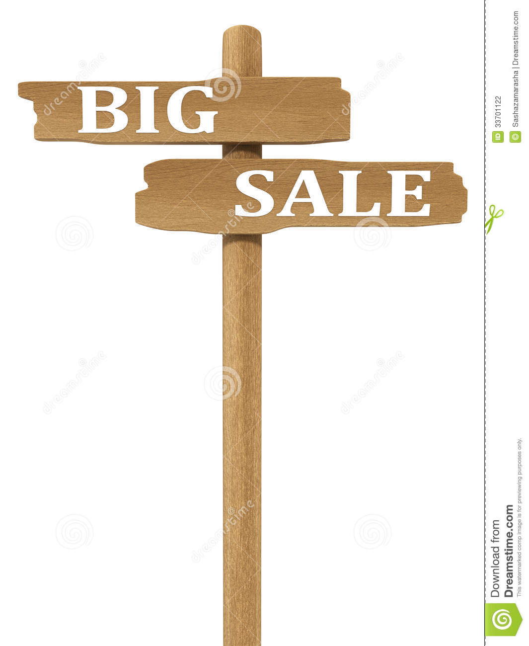 Wooden commercial road sign with SALE label text