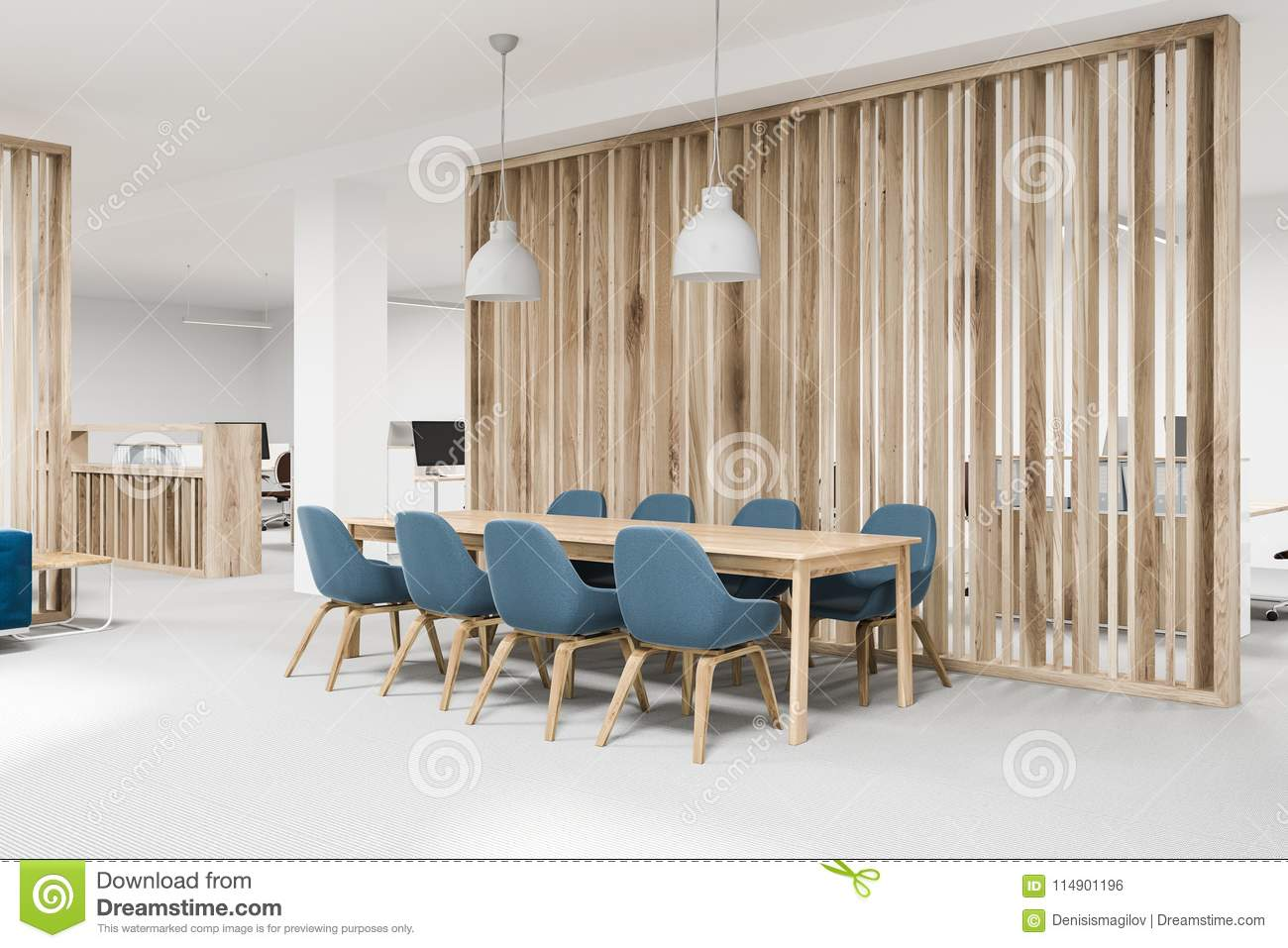 wooden meeting room corner blue chairs stock illustration rh dreamstime com wooden meeting room wooden meeting room