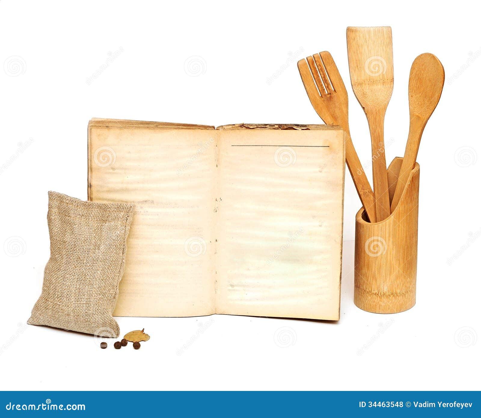 Kitchen Utensils Background: Wooden Cooking Utensils Royalty Free Stock Photos