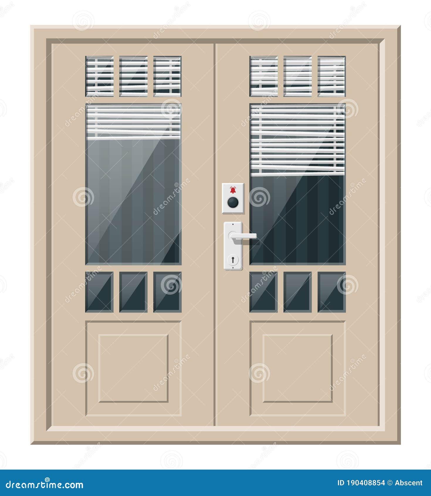 Wooden Cottage Door With Windows And Window Blind Stock Vector Illustration Of Front Door 190408854