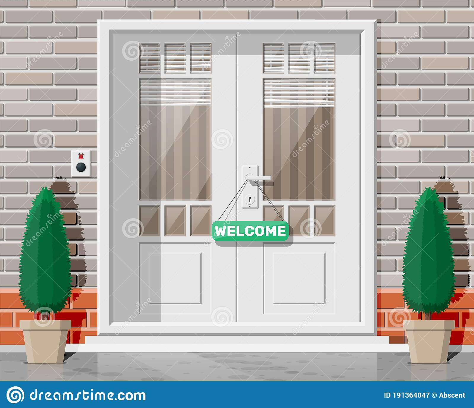 Wooden Cottage Door With Windows And Window Blind Stock Vector Illustration Of Cottage Invite 191364047